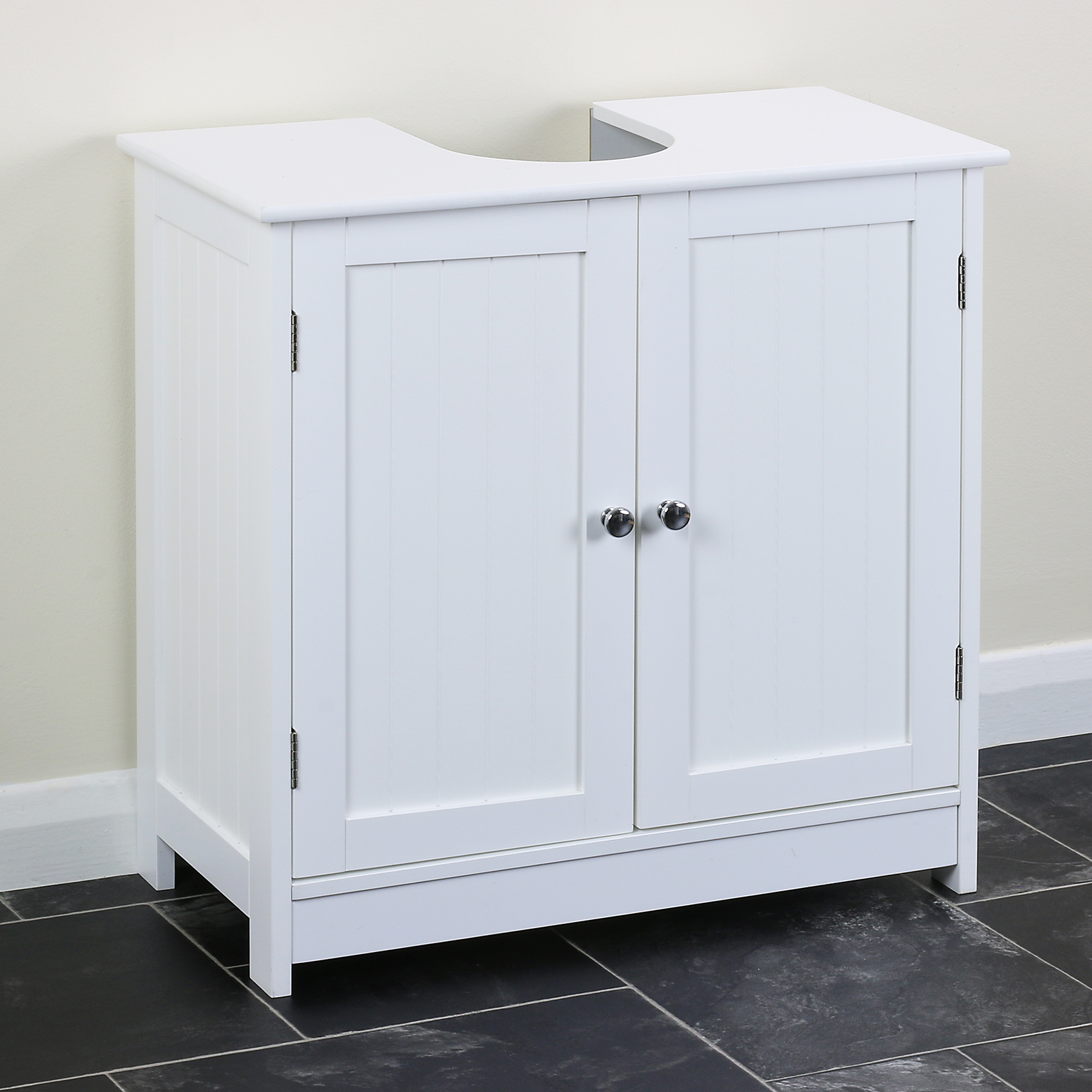 Sentinel Clic White Under Sink Storage Vanity Unit Bathroom Cupboard With Cut Out