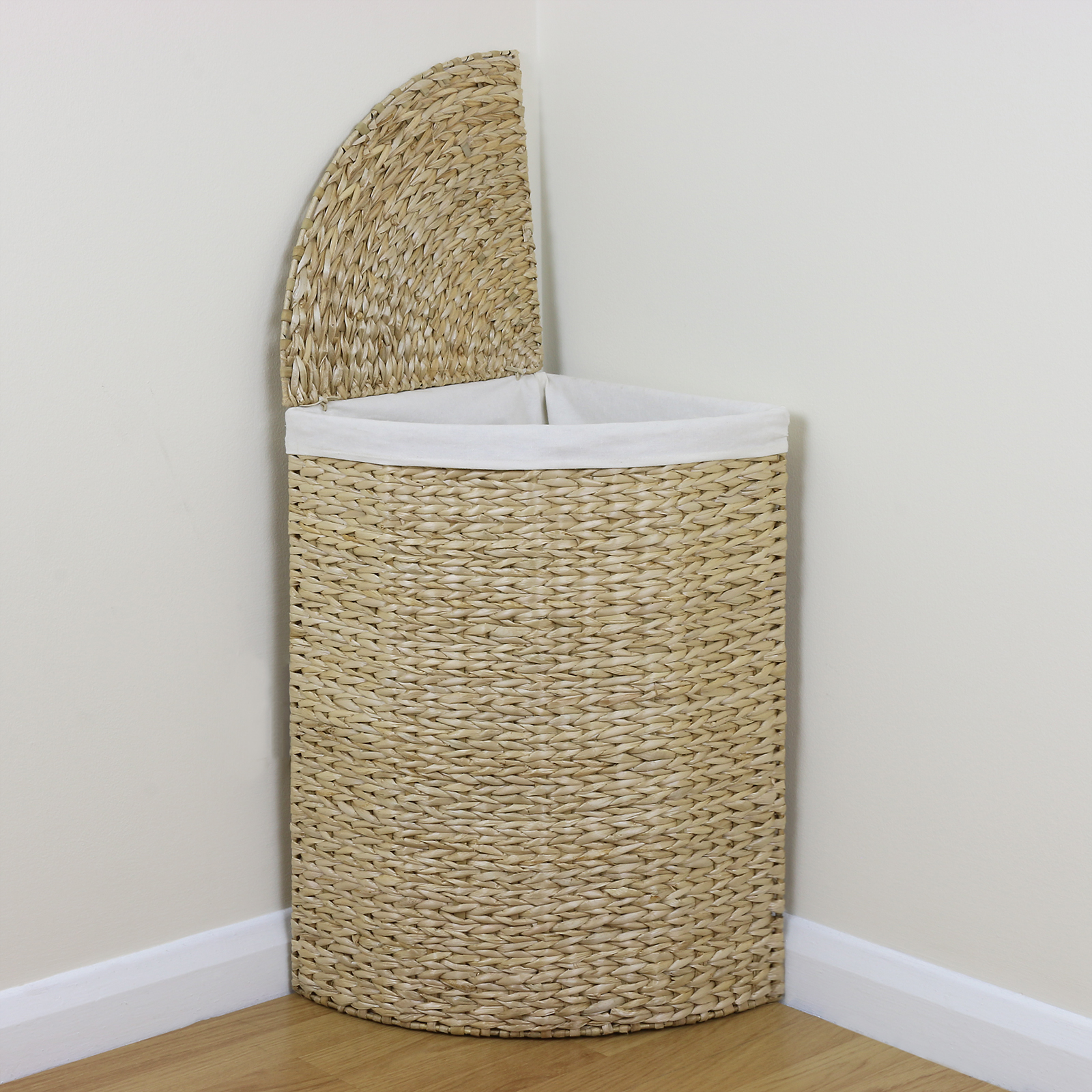 Charmant Sentinel Corner Woven Laundry Basket Cloth Lining Lid Hamper Bin Wicker  Washing Storage