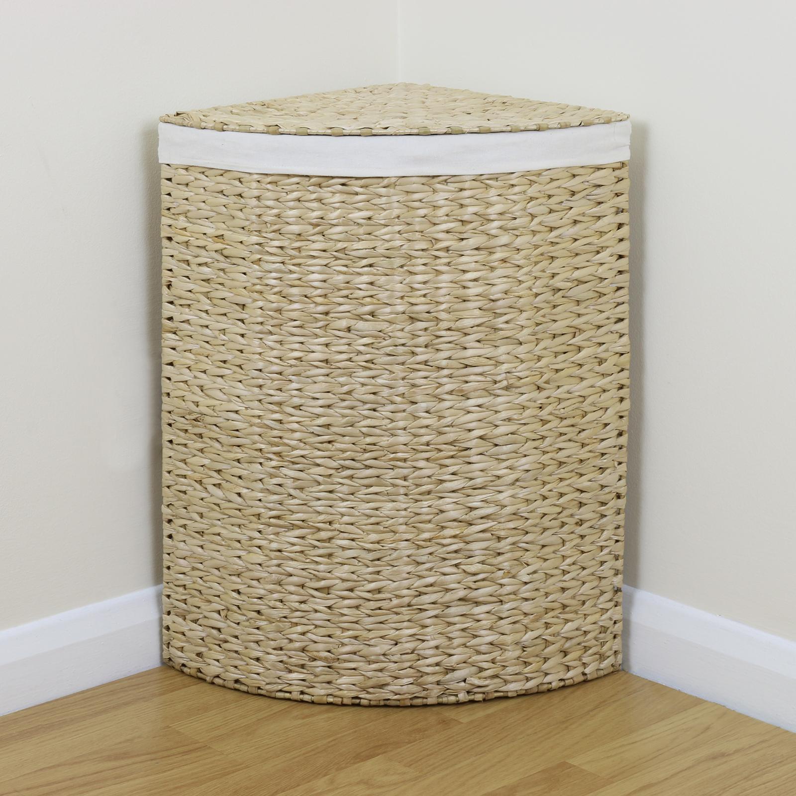 Sentinel Corner Woven Laundry Basket Cloth Lining Lid Hamper Bin Wicker Washing Storage