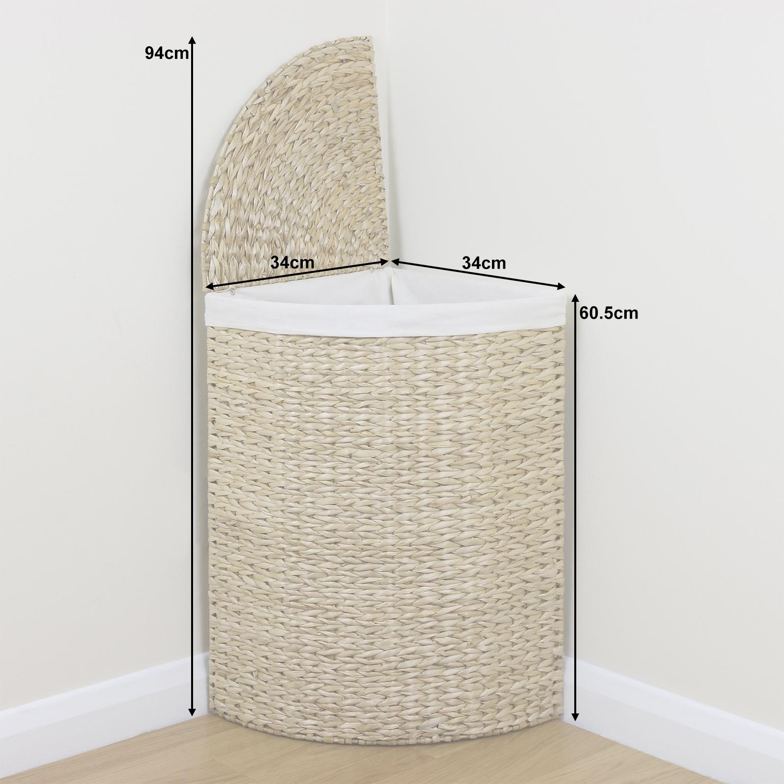 Corner Woven Laundry Basket Cloth Lining Lid Hamper Bin Wicker Washing Storage Ebay