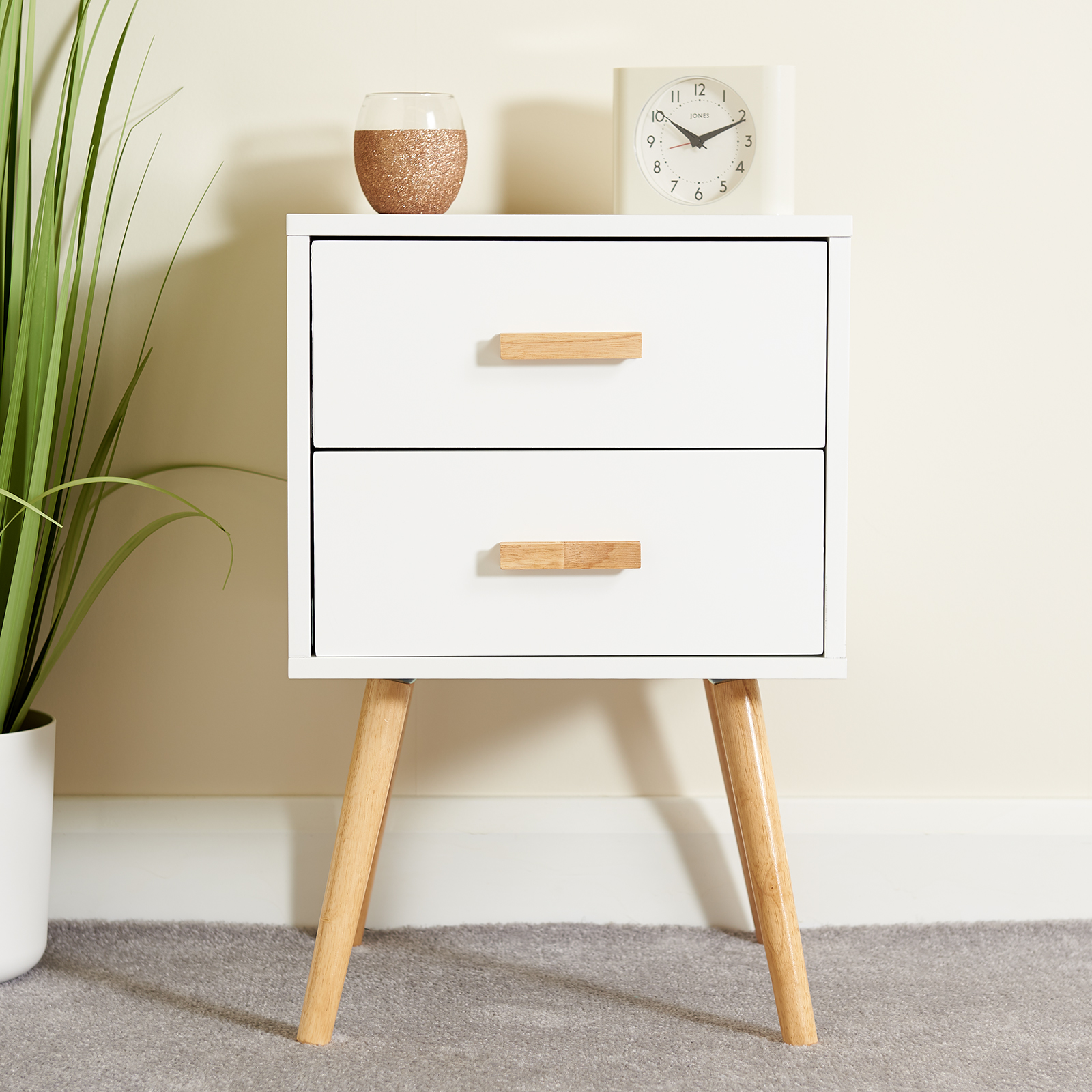 promo code b52ea 9befa Details about HARTLEYS 2 DRAWER WHITE BEDSIDE TABLE WOOD LEGS SCANDINAVIAN  RETRO BEDROOM UNIT