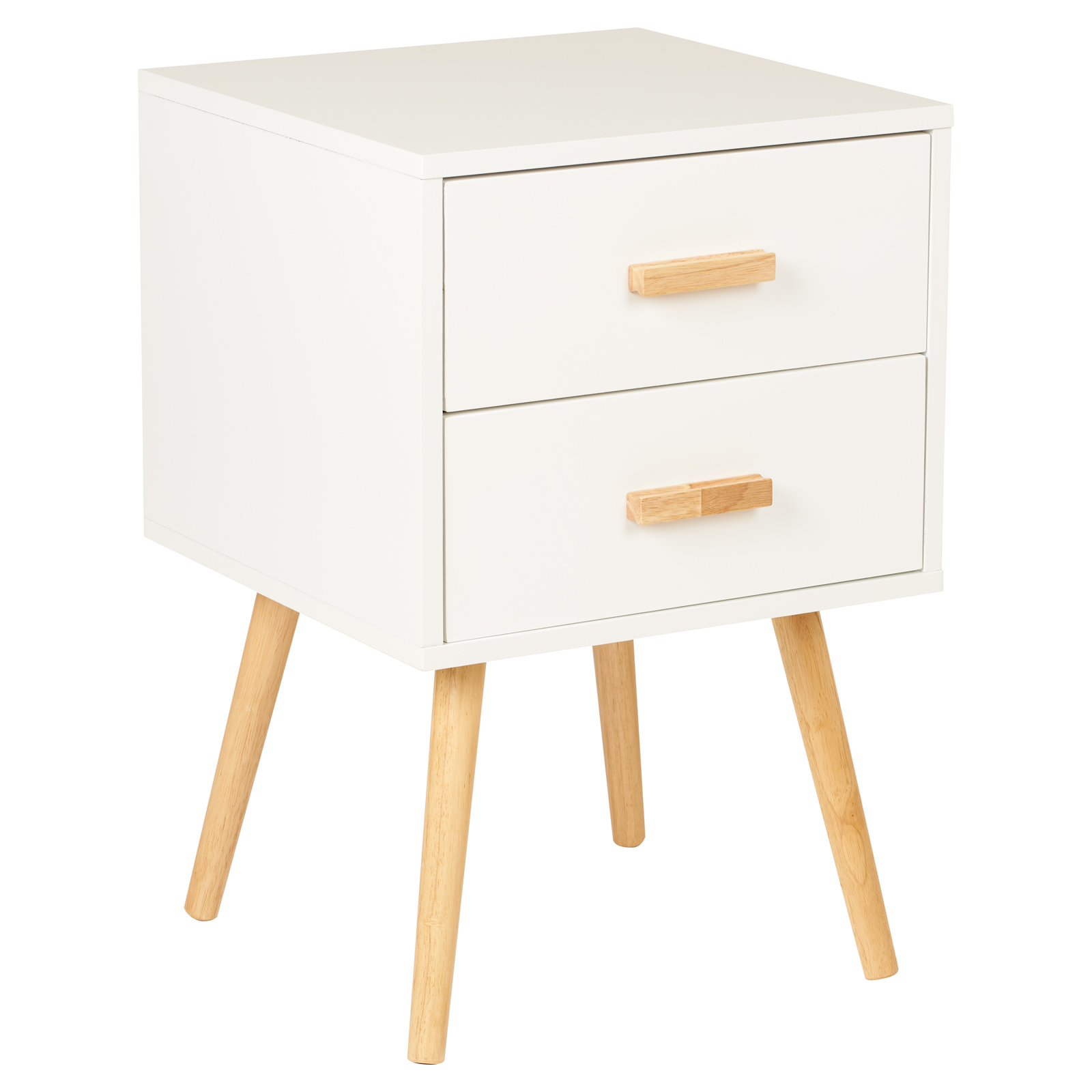 Picture Of Anti Scratch Bedside Table 2 Drawers White
