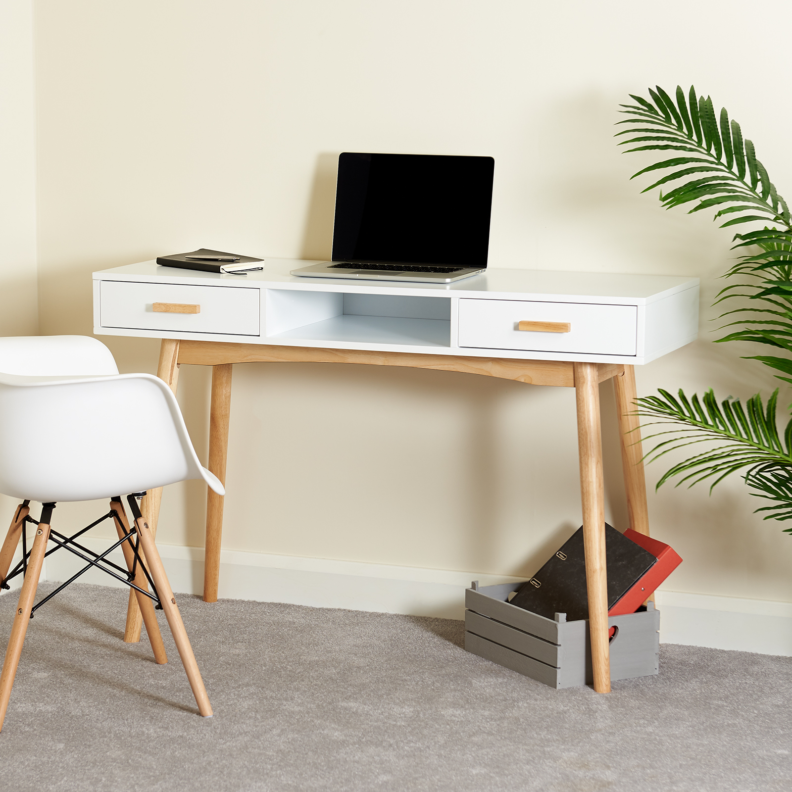 Sentinel Hartleys White Scandinavian Retro Home Office Work Pc Writing Desk With Drawers