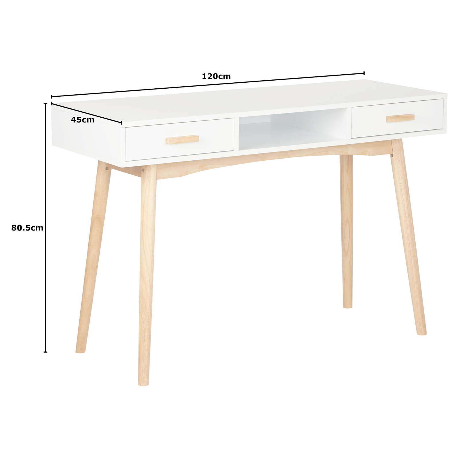 Details About Hartleys White Scandinavian Retro Home Office Work Pc Writing Desk With Drawers