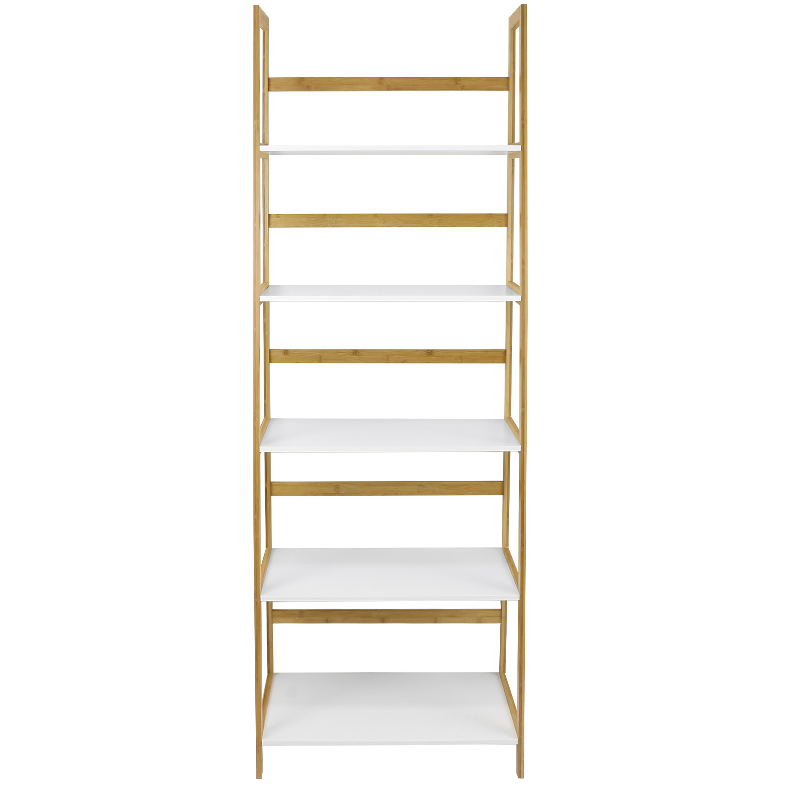 tall storage shelves hartleys white amp bamboo 5 tier bookcase shelves 27066