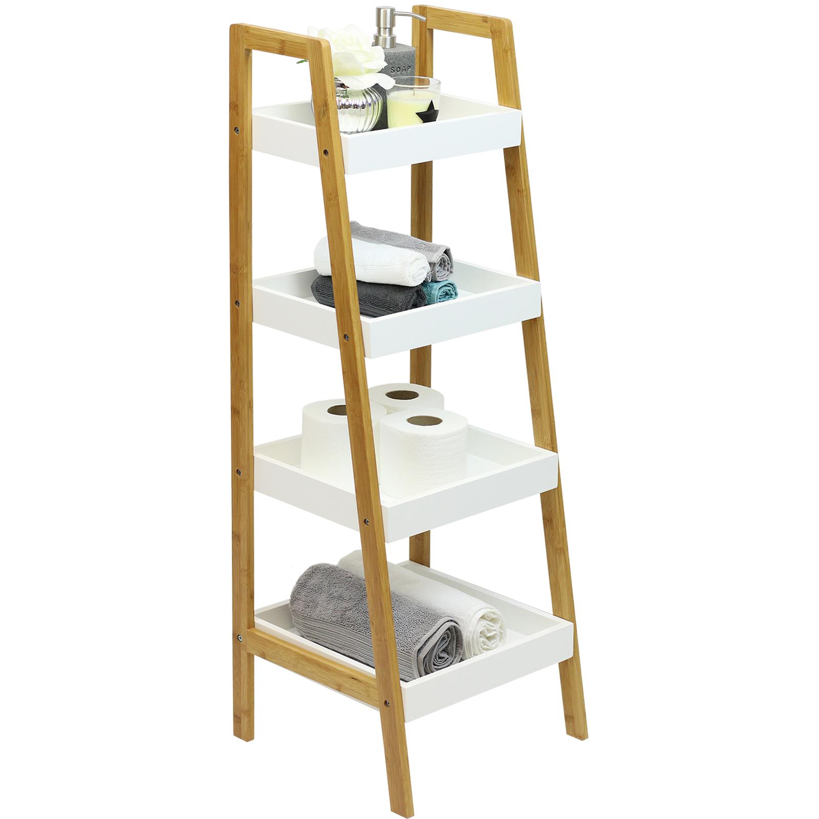 Groovy Hartleys White Bamboo 4 Tier Ladder Bathroom Shelves Interior Design Ideas Clesiryabchikinfo