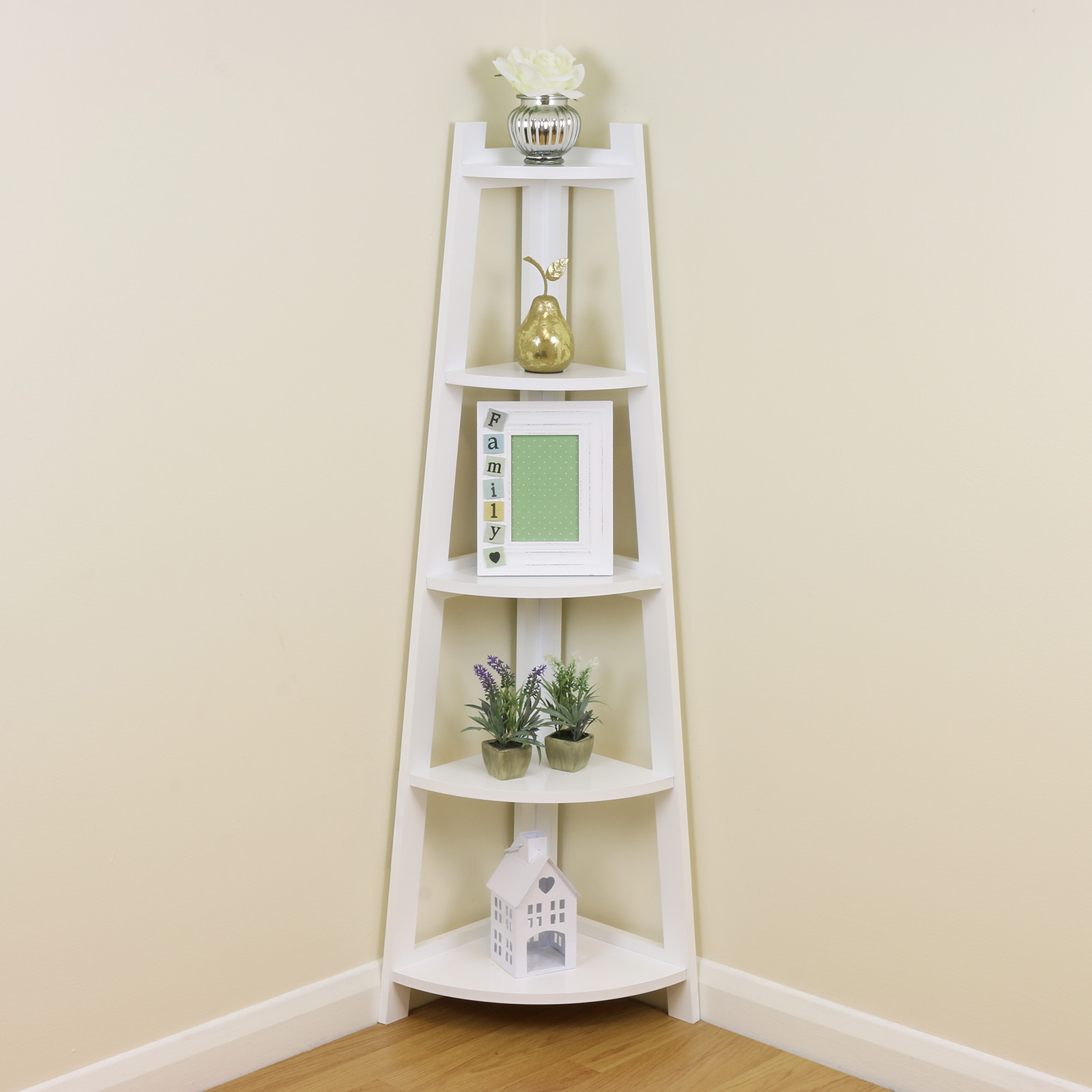 White 5 Tier Tall Corner Shelf/Shelving Unit Display Stand ...