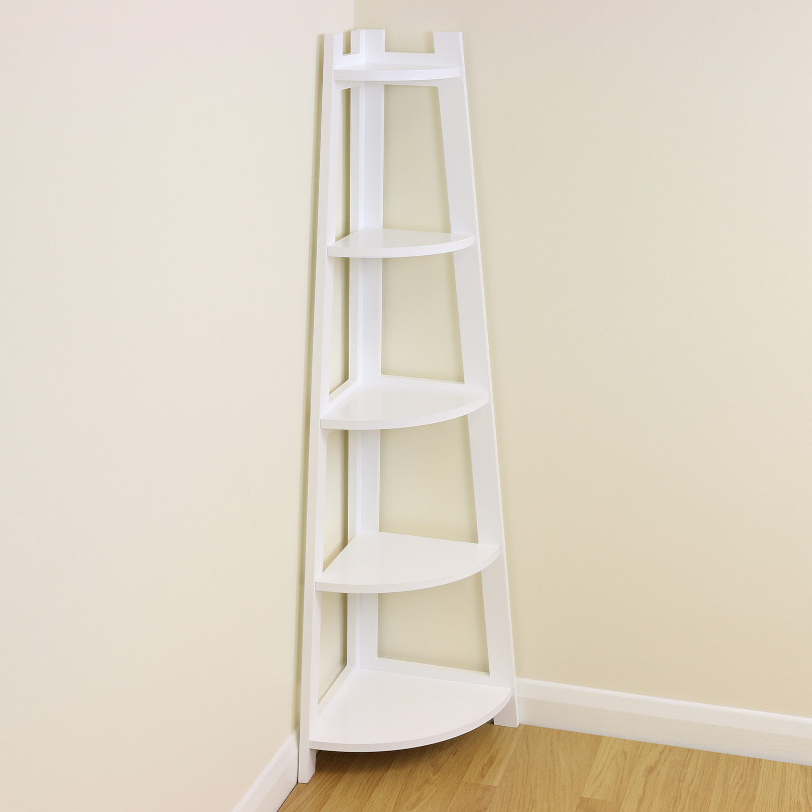 White 5 tier tall corner shelf shelving unit display stand - White bathroom corner shelf unit ...