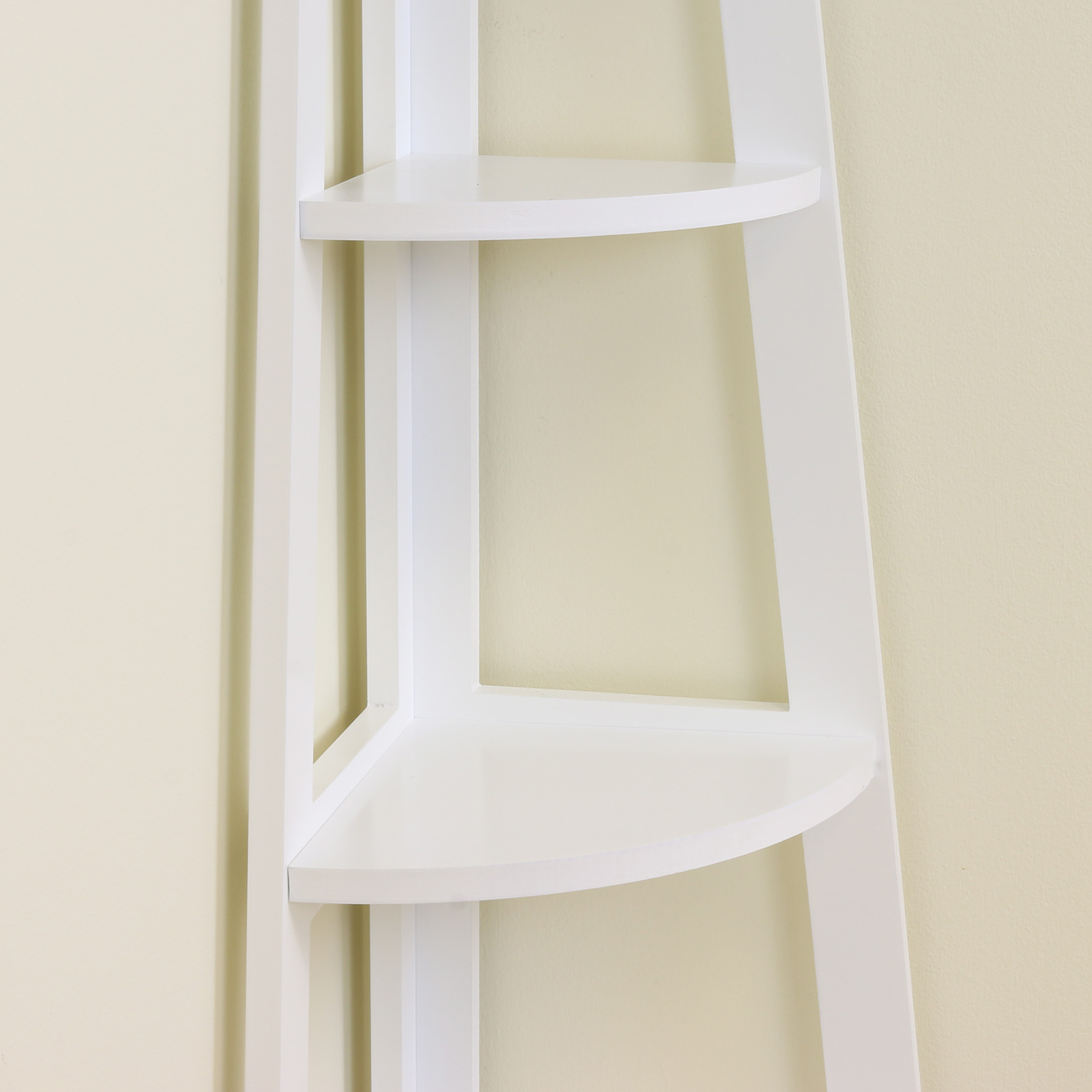 White 5 Tier Tall Corner Shelf Shelving Unit Display Stand