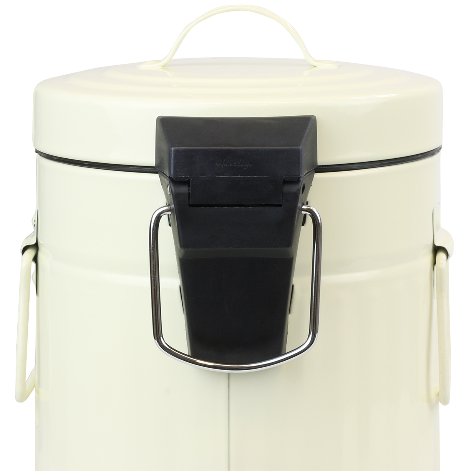 HARTLEYS CREAM METAL BATHROOM PEDAL BIN AND TOILET BRUSH
