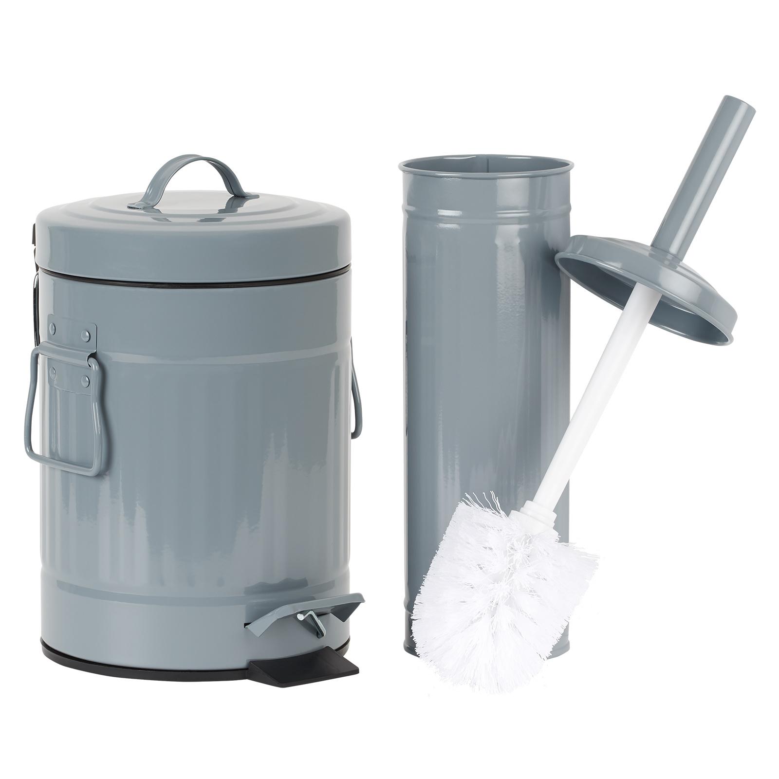 HARTLEYS GREY METAL BATHROOM PEDAL BIN AND TOILET BRUSH SET SMALL ...