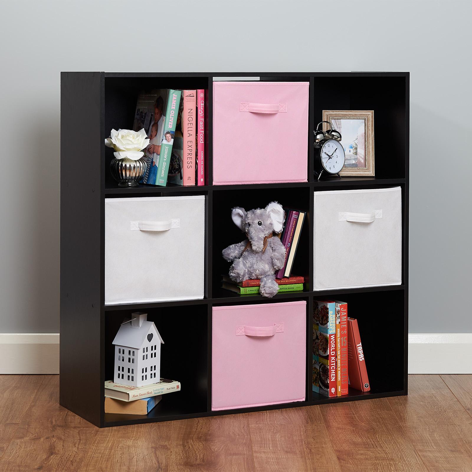 White 6 Cube Kids Toy Games Storage Unit Girls Boys: Black 9 Cube Kids Pink & White Toy/Games Storage Unit