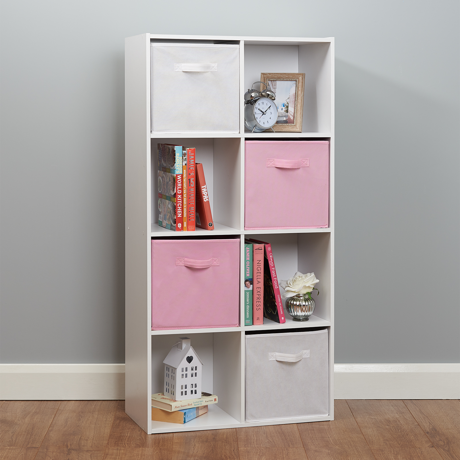 New Bookcase Toy Box White Finish Bedroom Playroom Child: 8 Cube Storage Unit White/Pink Boxes Childrens/Kids
