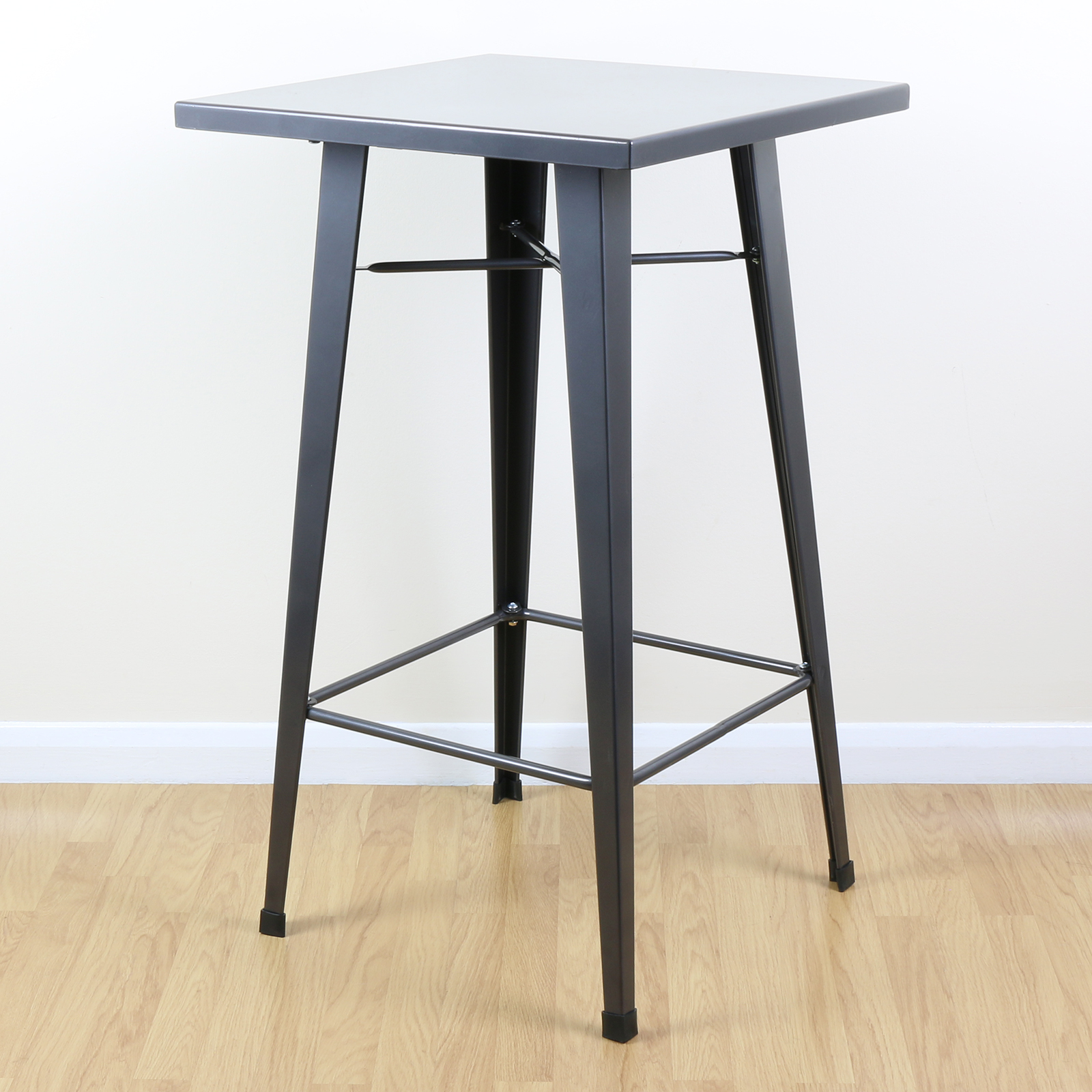 Sentinel Gunmetal Grey Tall Metal Square Bistro Cafe Bar Table Vintage Style
