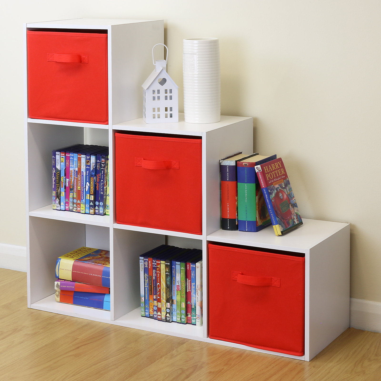 White 6 cube kids toy games storage unit girls boys for White bookcase for kids room