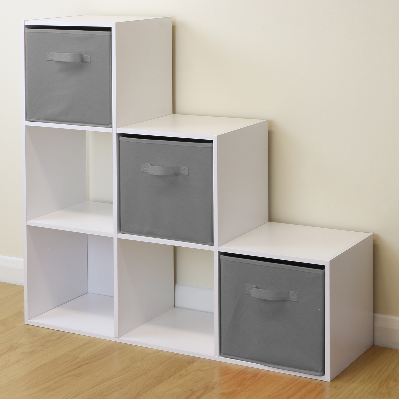 Sentinel White 6 Cube Kids Toy/Games Storage Unit Girls/Boys Bedroom  Shelves 3 Grey