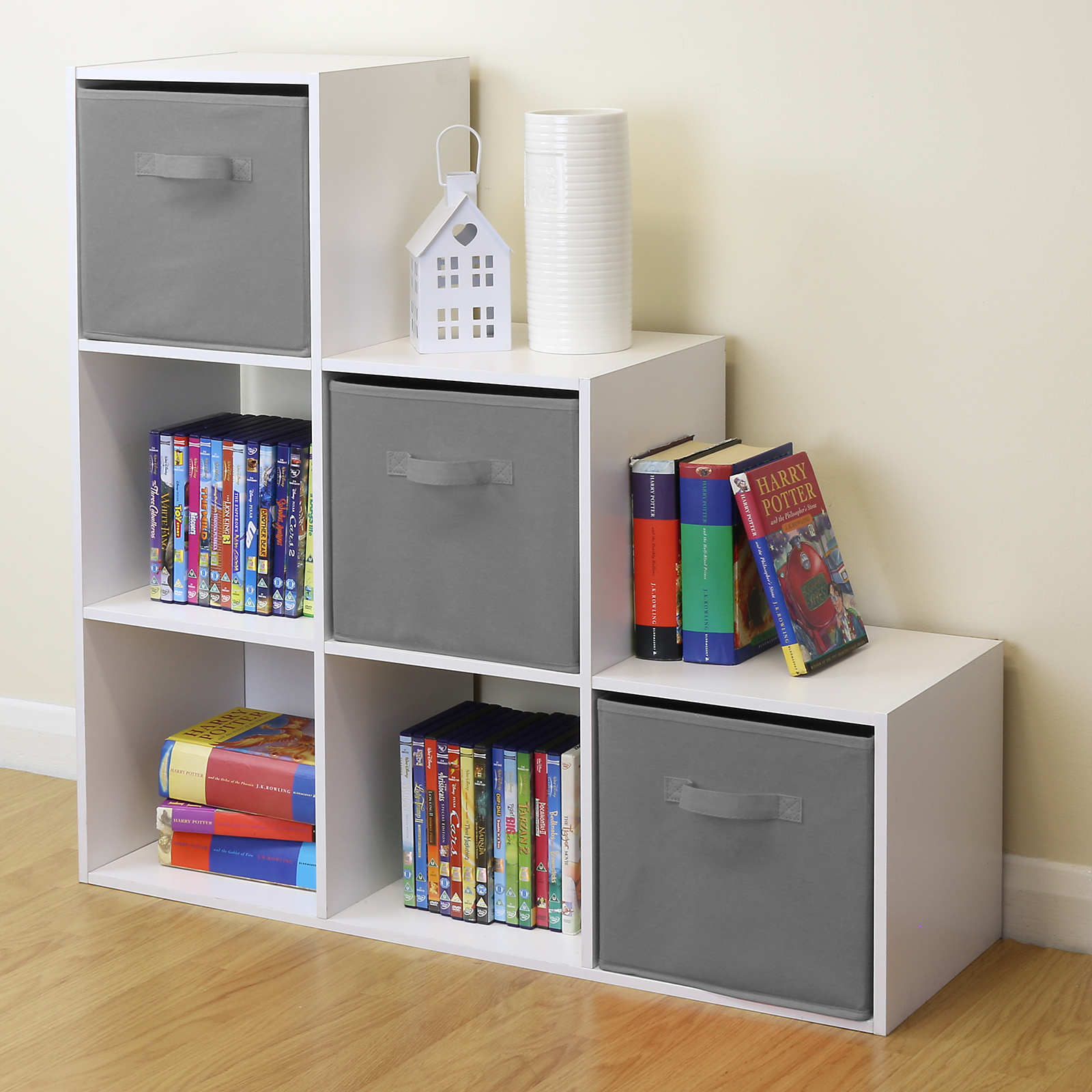 White 6 cube kids toy games storage unit girls boys for Storage for kids rooms