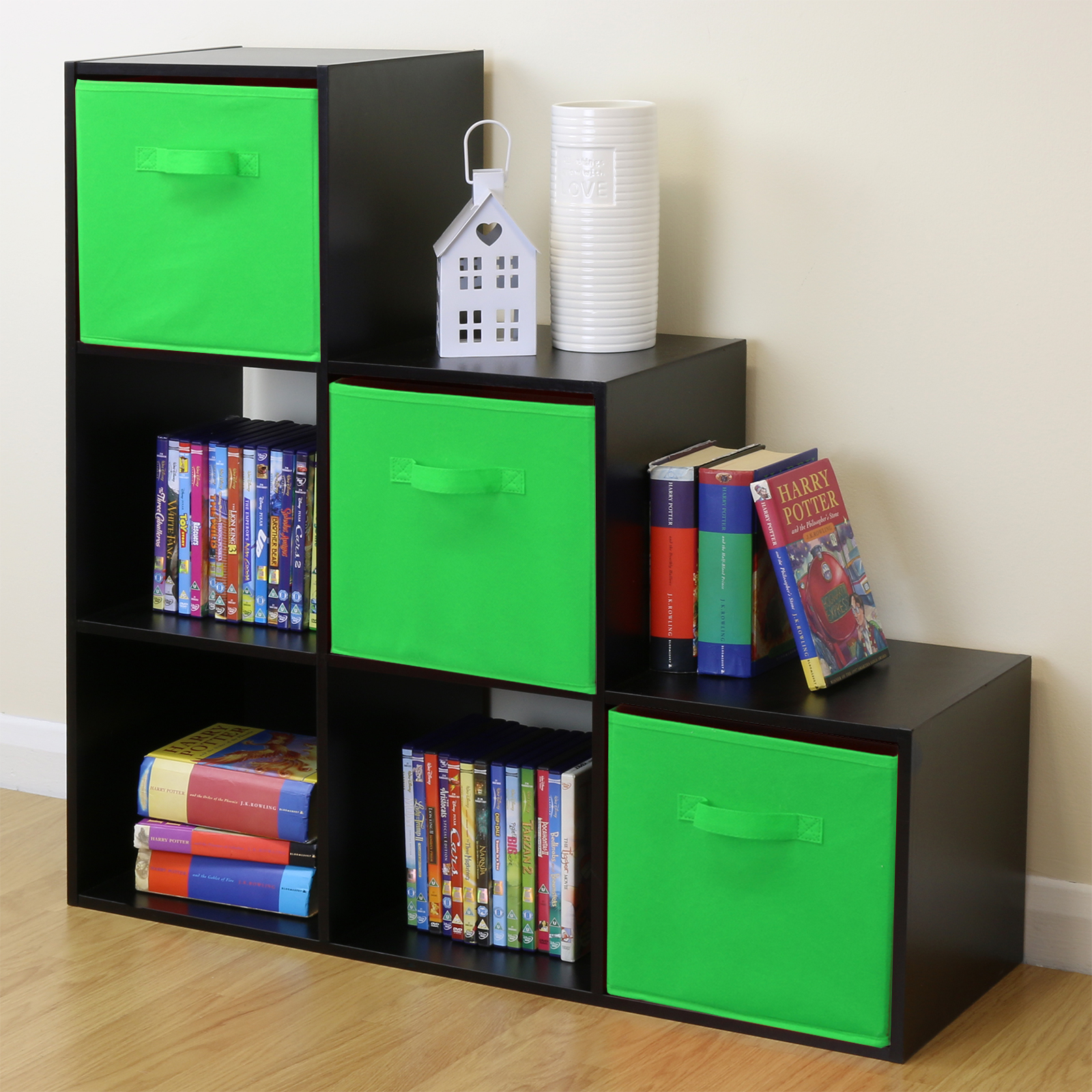black 6 cube kids toy games storage unit girls boys 10665 | bca019j
