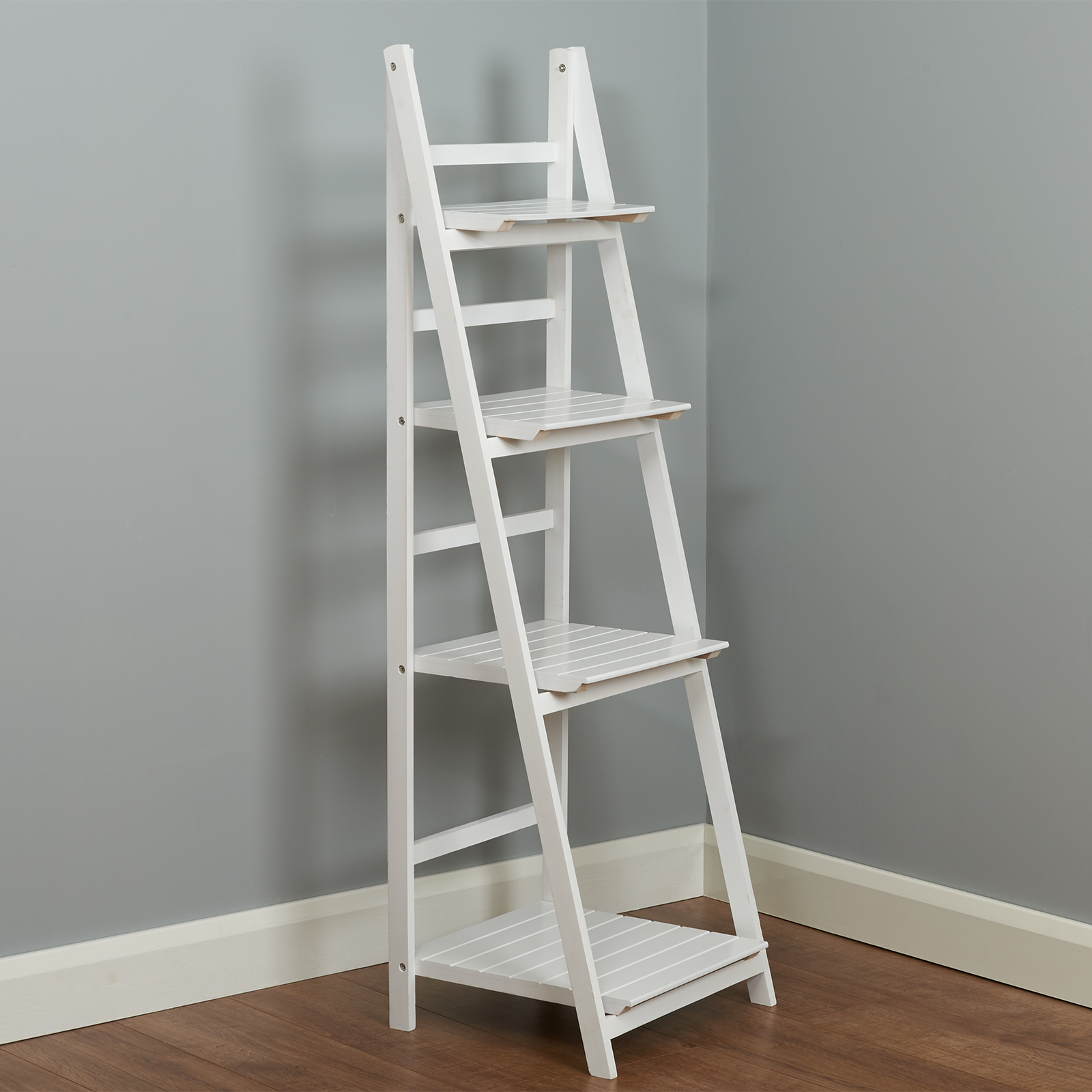 HARTLEYS WHITE 4 TIER FOLDING LADDER STORAGE HOME DISPLAY