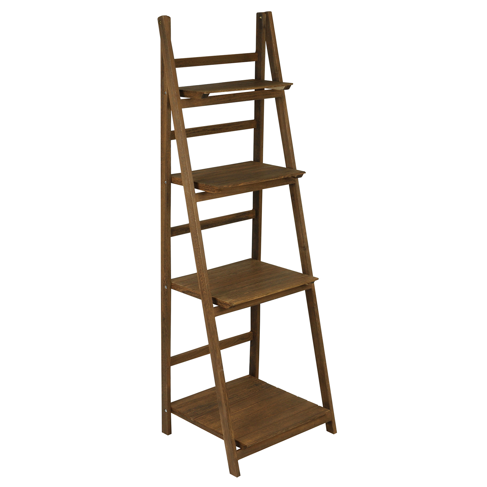HARTLEYS BROWN 4 TIER FOLDING LADDER STORAGE HOME DISPLAY