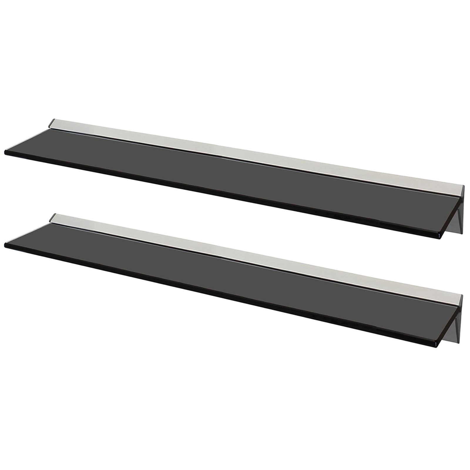 Sentinel hartleys pair 80x15cm black floating glass wall shelves storage display shelf