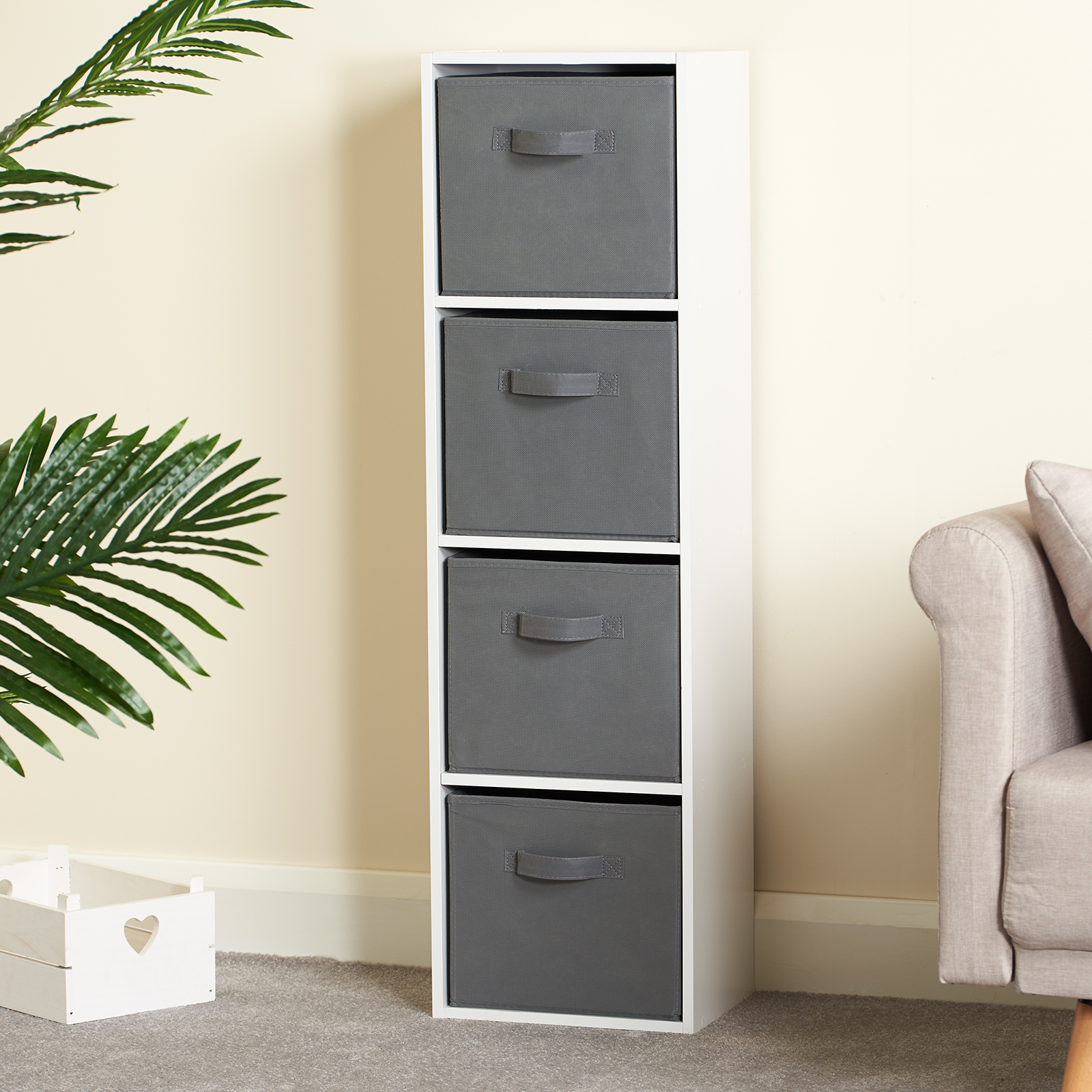 Hartleys-4-Tier-White-Bookcase-Wooden-Display-Shelving-Unit-amp-Fabric-Storage-Box thumbnail 16