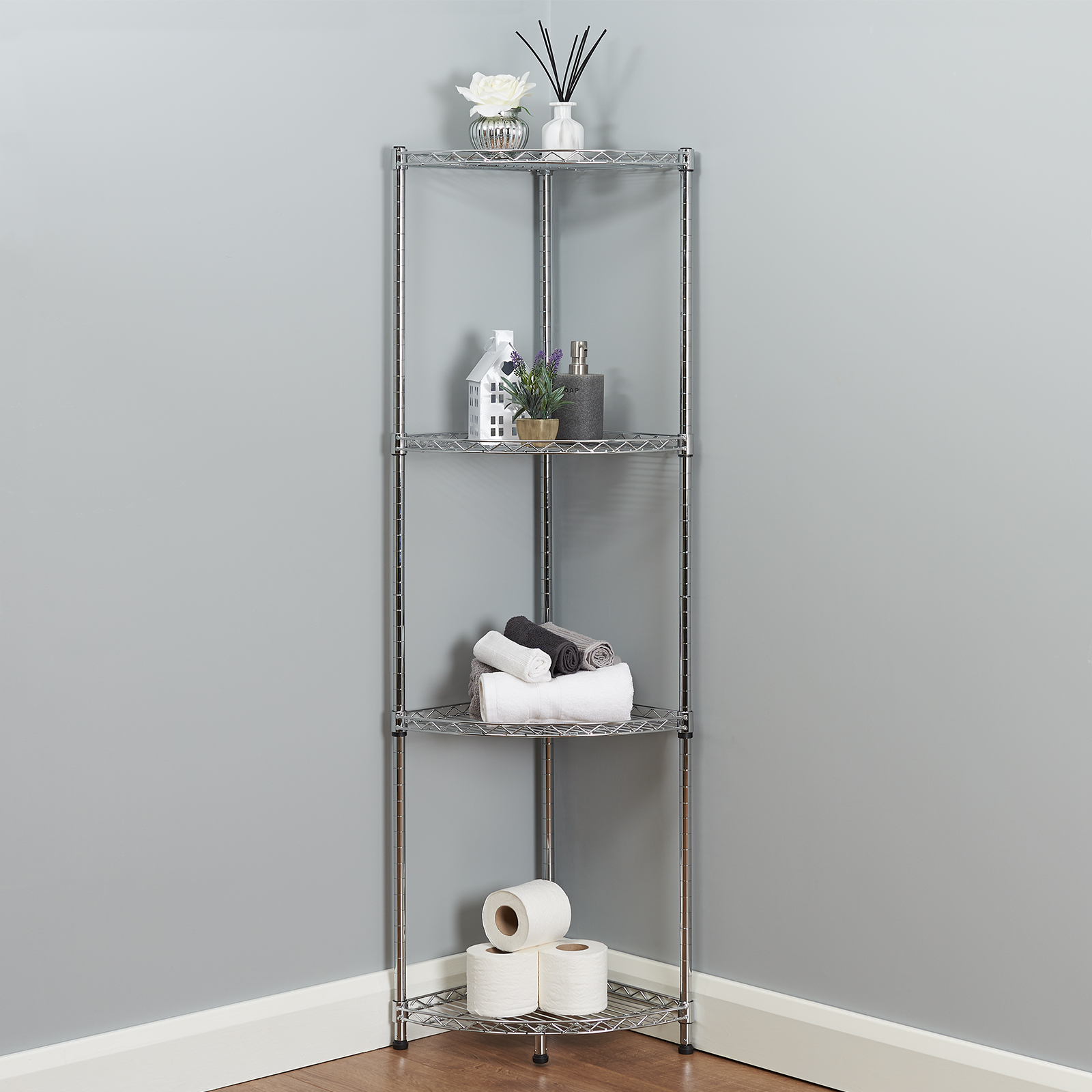 Chrome Bathroom Storage Shelves Image