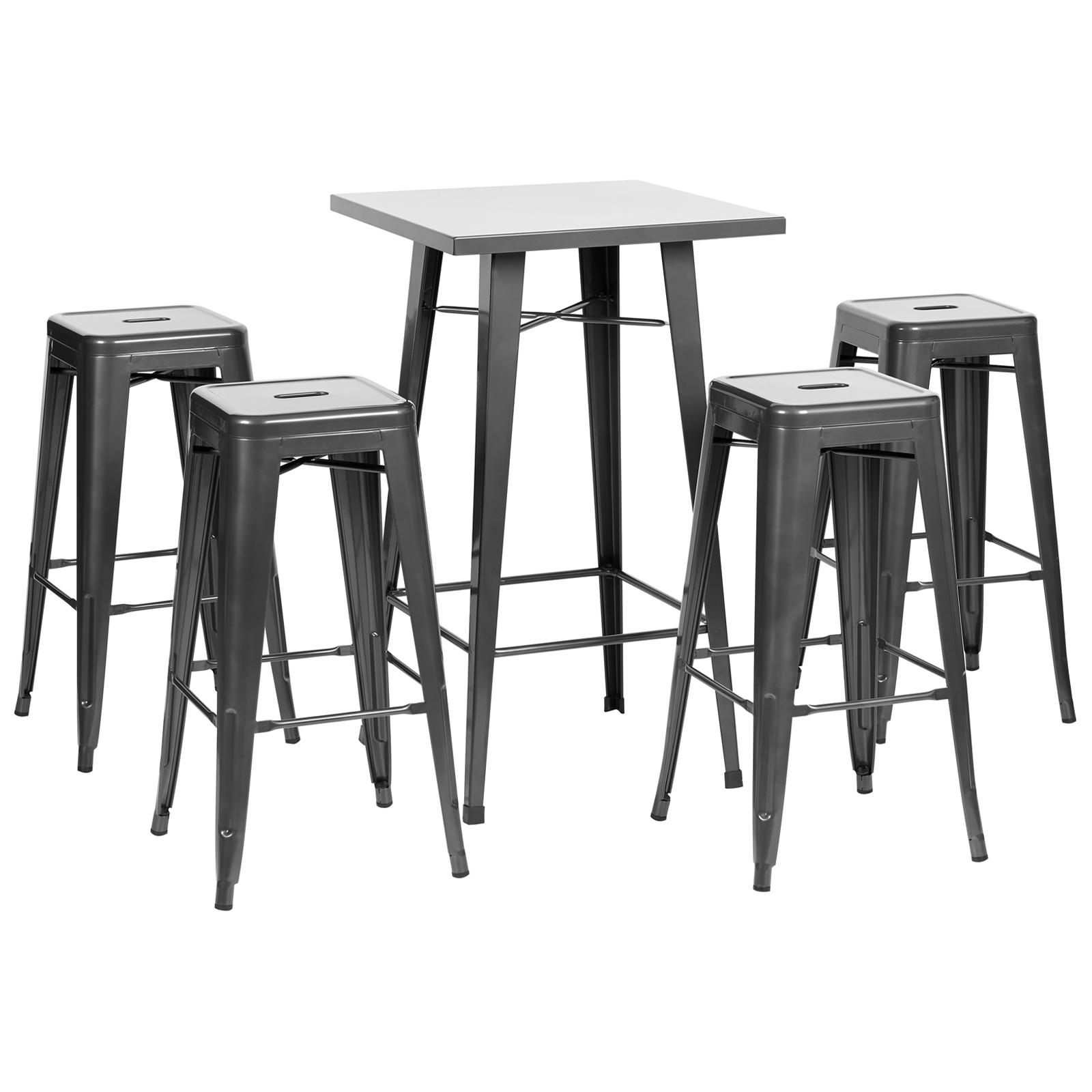 Details About Hartleys Gunmetal Square Bistro Bar Table 4 Metal Tall Stools Set