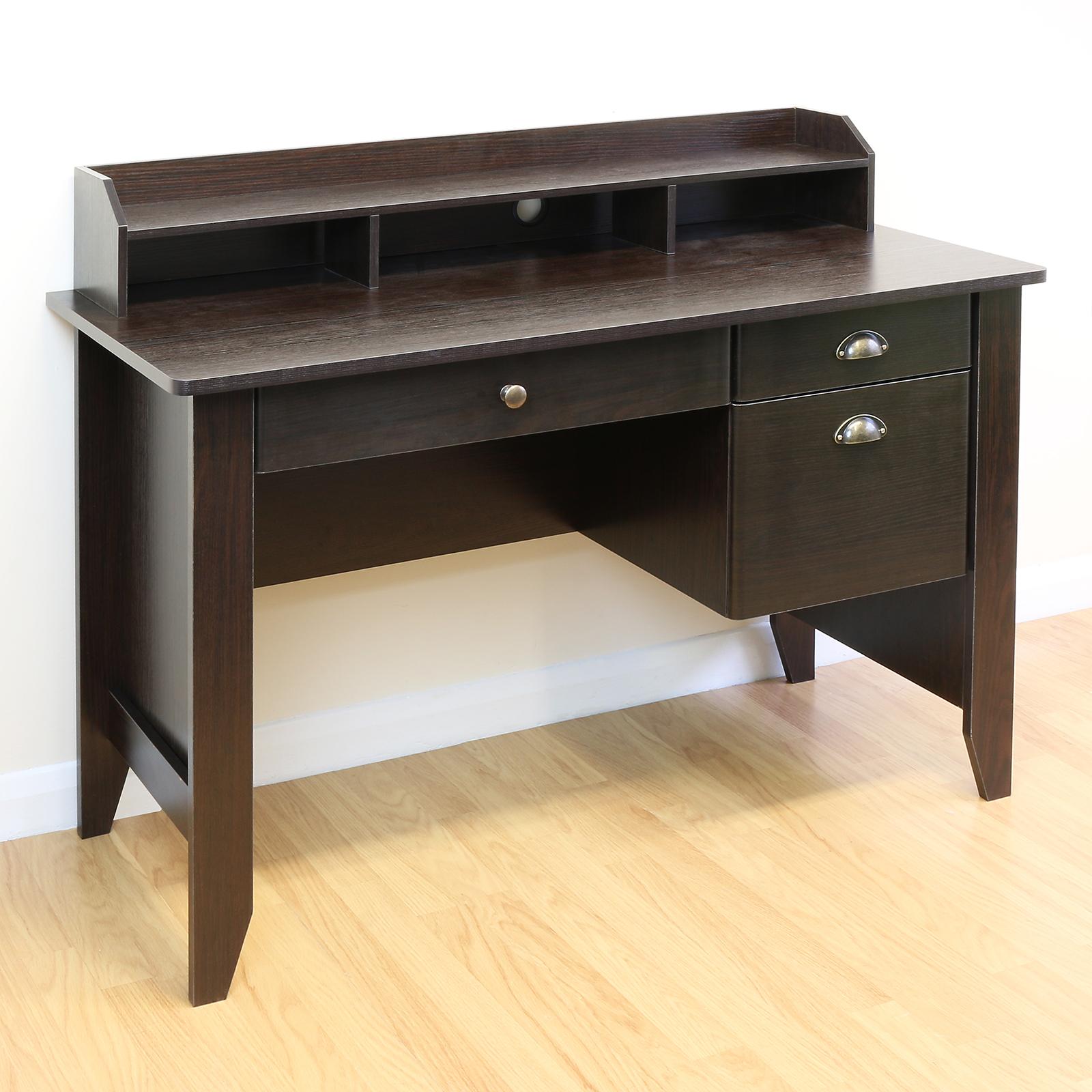 Sentinel Home Office Study Dark Wood Computer Pc Work Desk Monitor Shelf Storage Drawers
