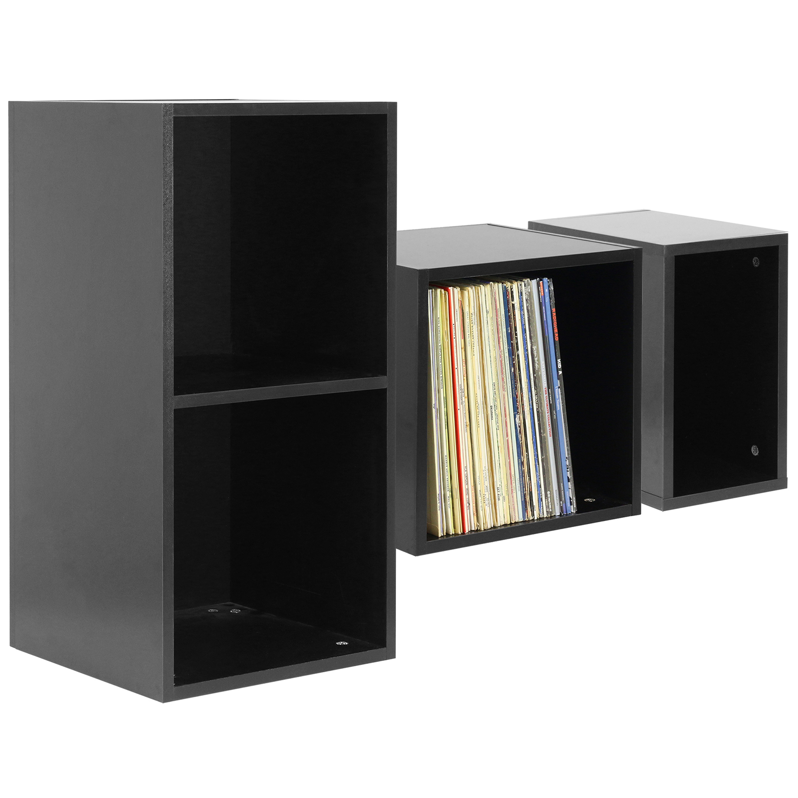 hartleys black vinyl lp music record storage box cube 12 case dj studio cabinet ebay. Black Bedroom Furniture Sets. Home Design Ideas