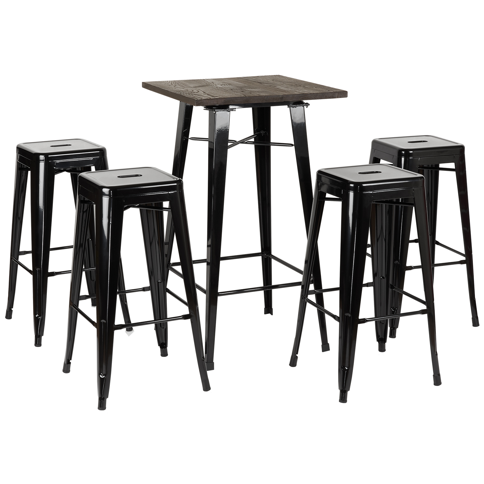 Enjoyable Details About Hartleys 4 Black Bar Stools Dark Wood Bistro Kitchen Dining Table Cafe Chair Set Caraccident5 Cool Chair Designs And Ideas Caraccident5Info