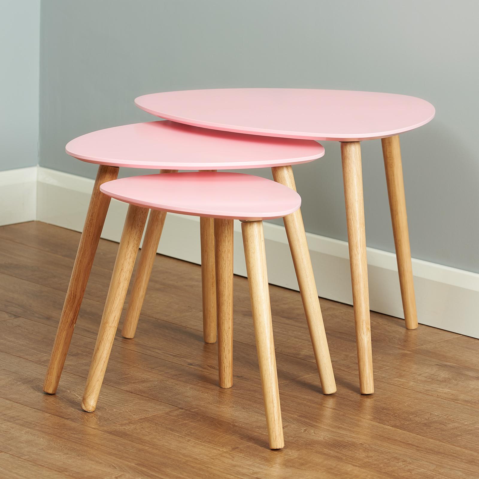 Détails sur Pink & bois scandinave moderne Lot de 3 Salon imbriquées  Café/Fin de tables- afficher le titre d\'origine