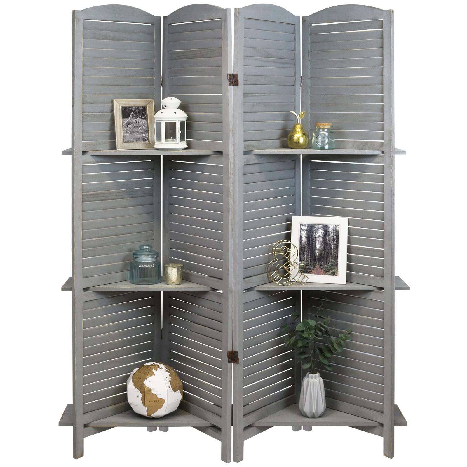 Hartleys 4 Panel Grey Vintage 3 Tier Shelf Room Divider