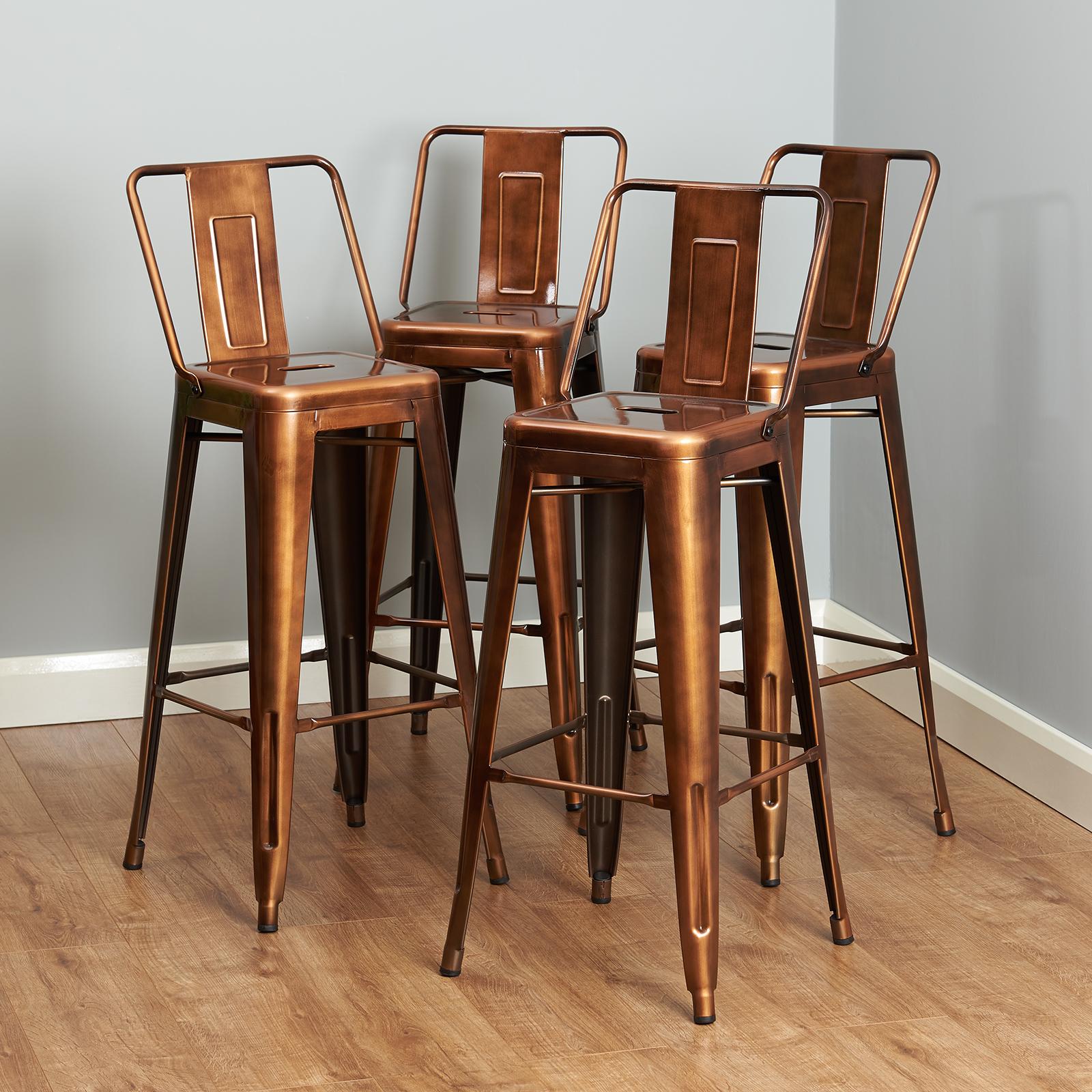 Copper Metal Breakfast Bar Cafe Stool Industrial Retro