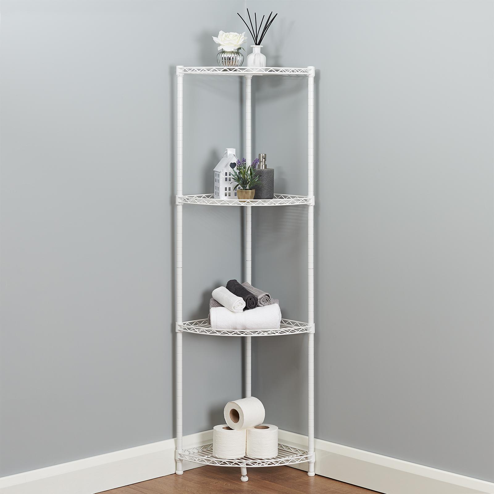 Details About 4 Tier Corner Bathroom Storage Shelves Metal White Shelving Unit Display Rack
