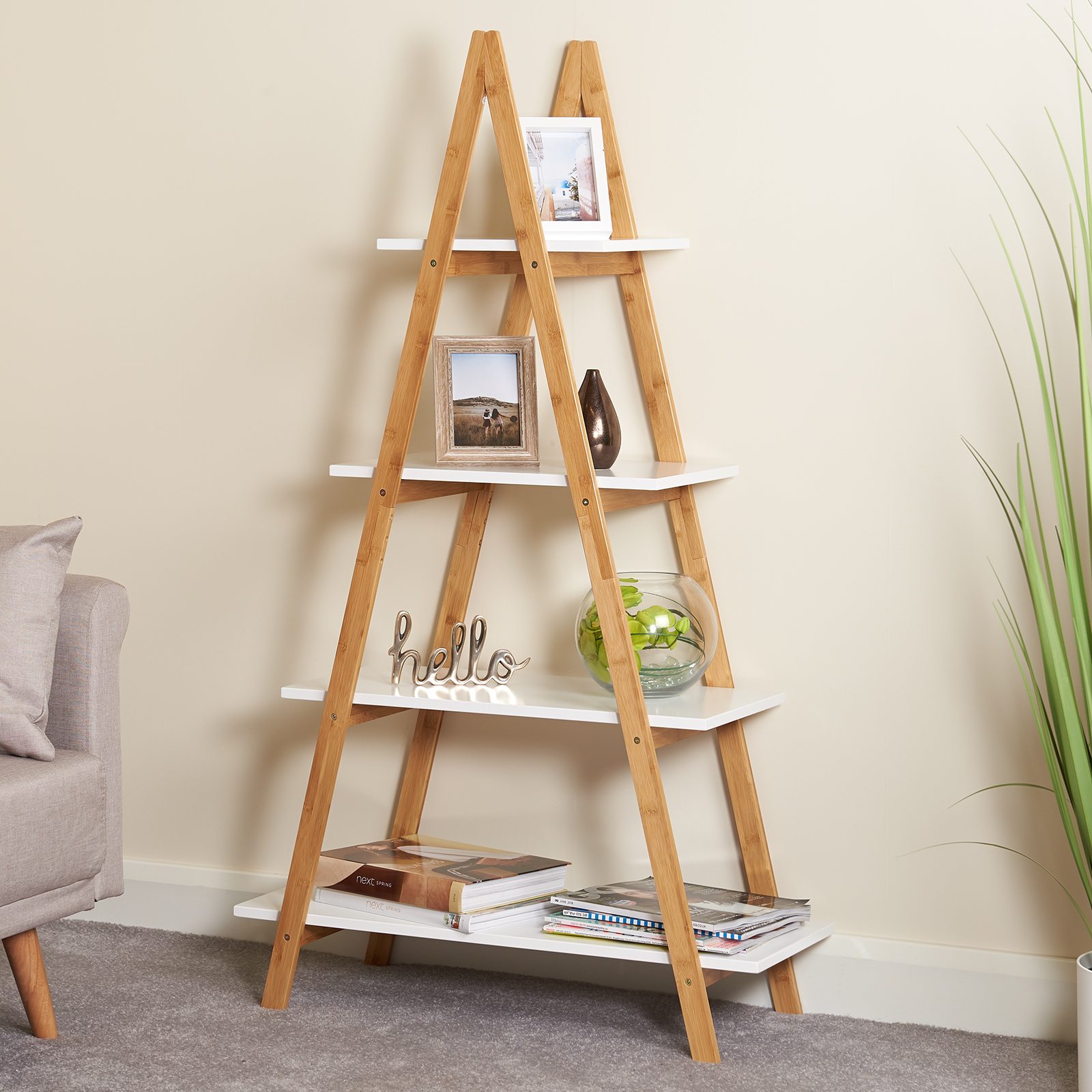 Details About Hartleys 4 Tier White Wooden Ladder Shelf Bookcase Display Unit Bamboo Shelves