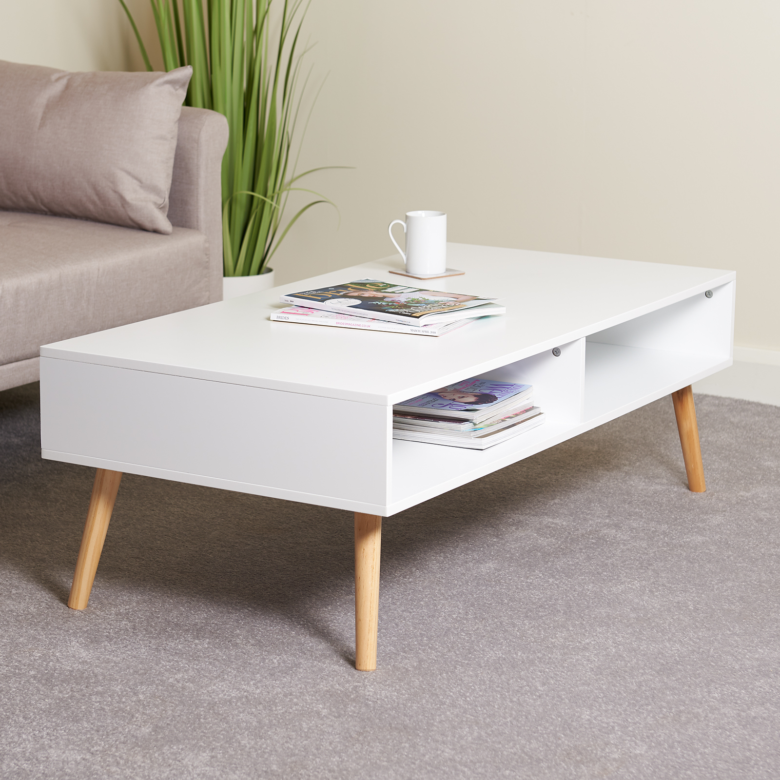 Hartleys Large White Rectangular Low Coffee Table Living Room