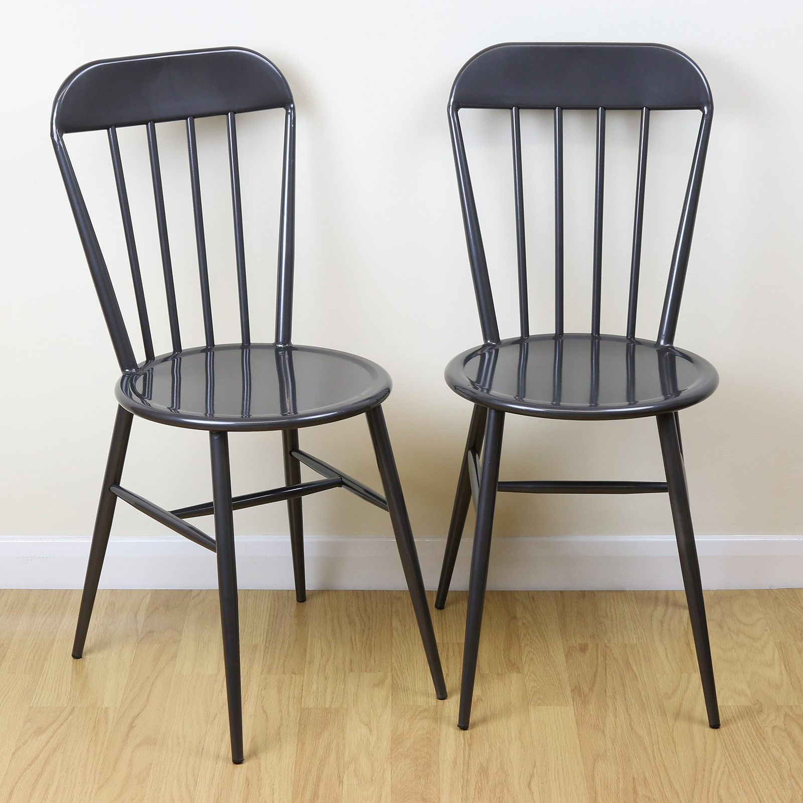 Set of 2 grey metal industrial dining chairs kitchen for Industrial style kitchen chairs