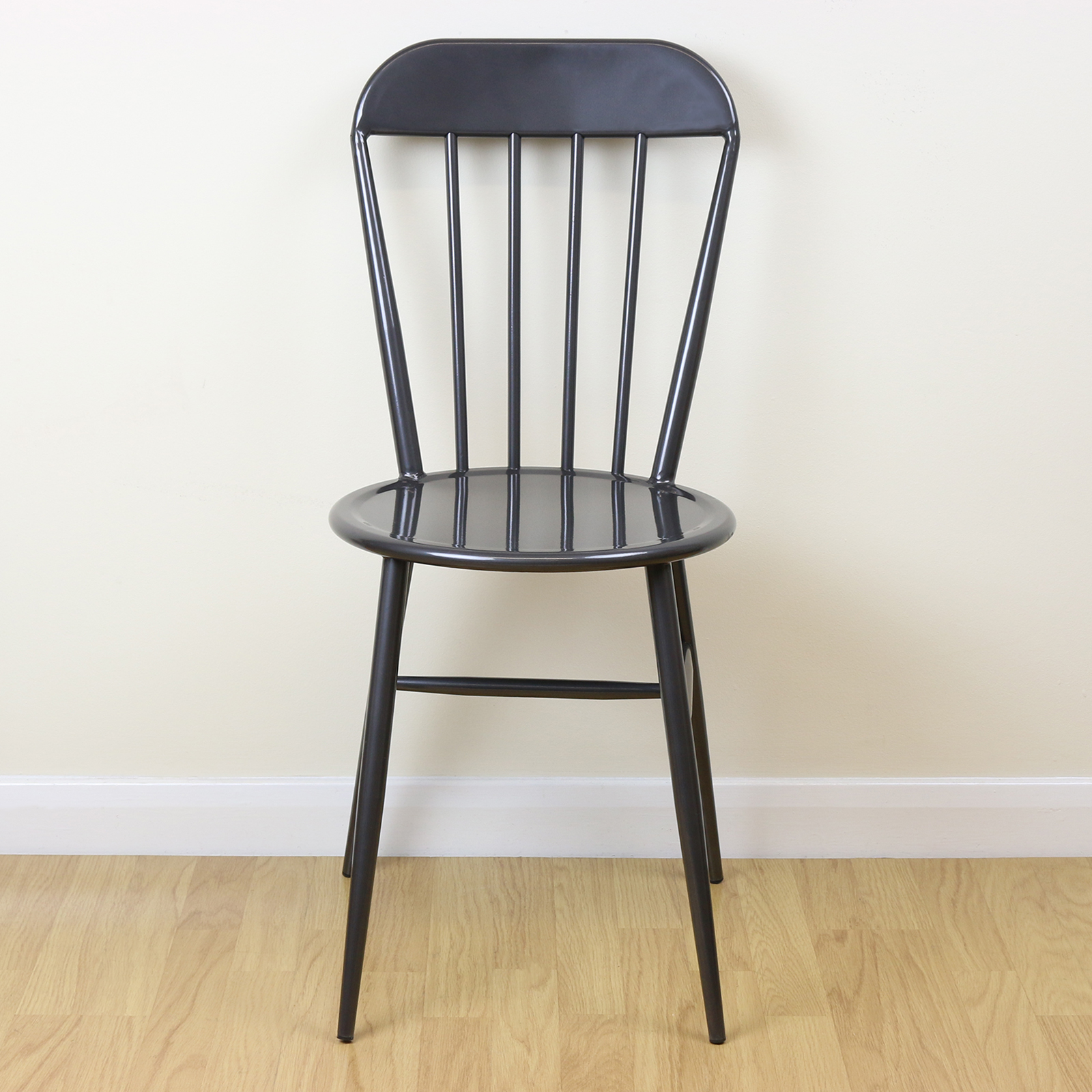 set of 2 grey metal industrial dining chairs kitchen bistro vintage style seats ebay. Black Bedroom Furniture Sets. Home Design Ideas