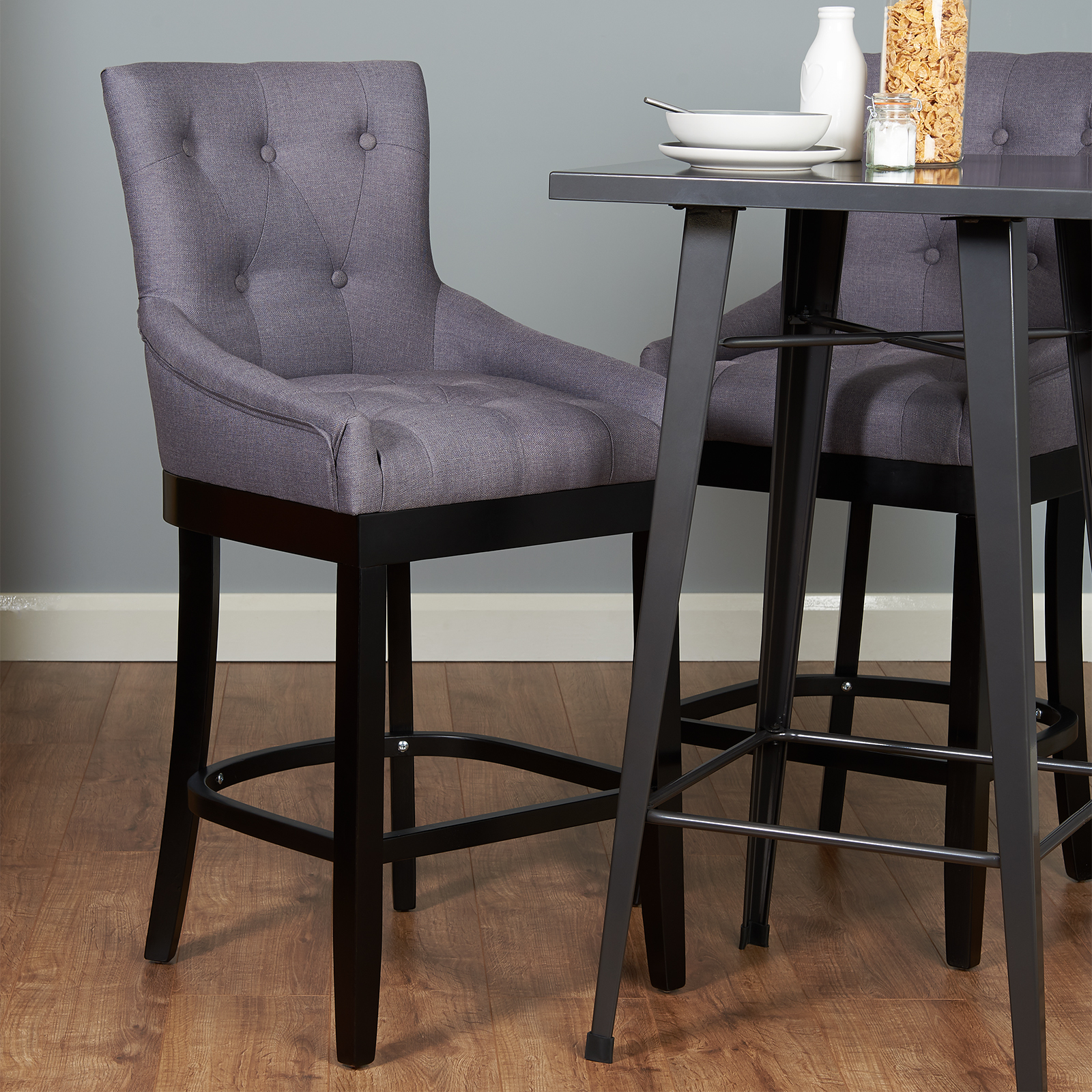 Black Kitchen Bar Stools Uk: Pair Of Dark Grey Bar Stools Kitchen Breakfast Stool Seat
