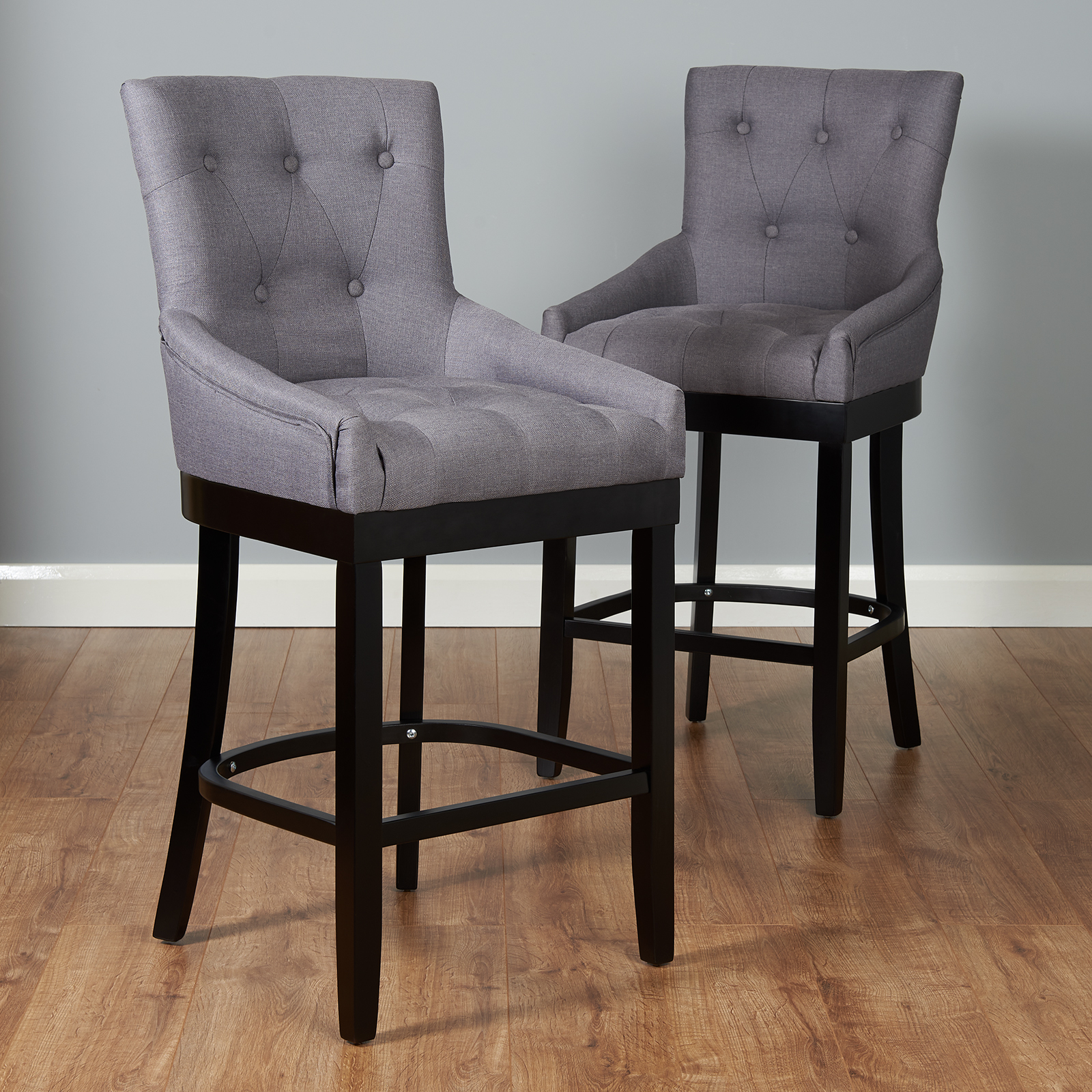 Grey Kitchen Bar Stools: Pair Of Dark Grey Bar Stools Kitchen Breakfast Stool Seat
