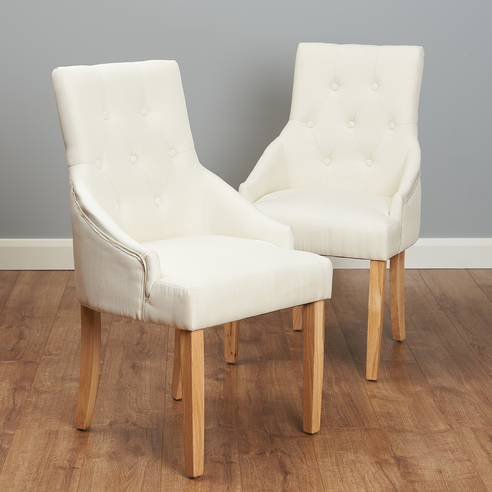 Pair Of Cream Upholstered Dining Chairs Scoop Button Back