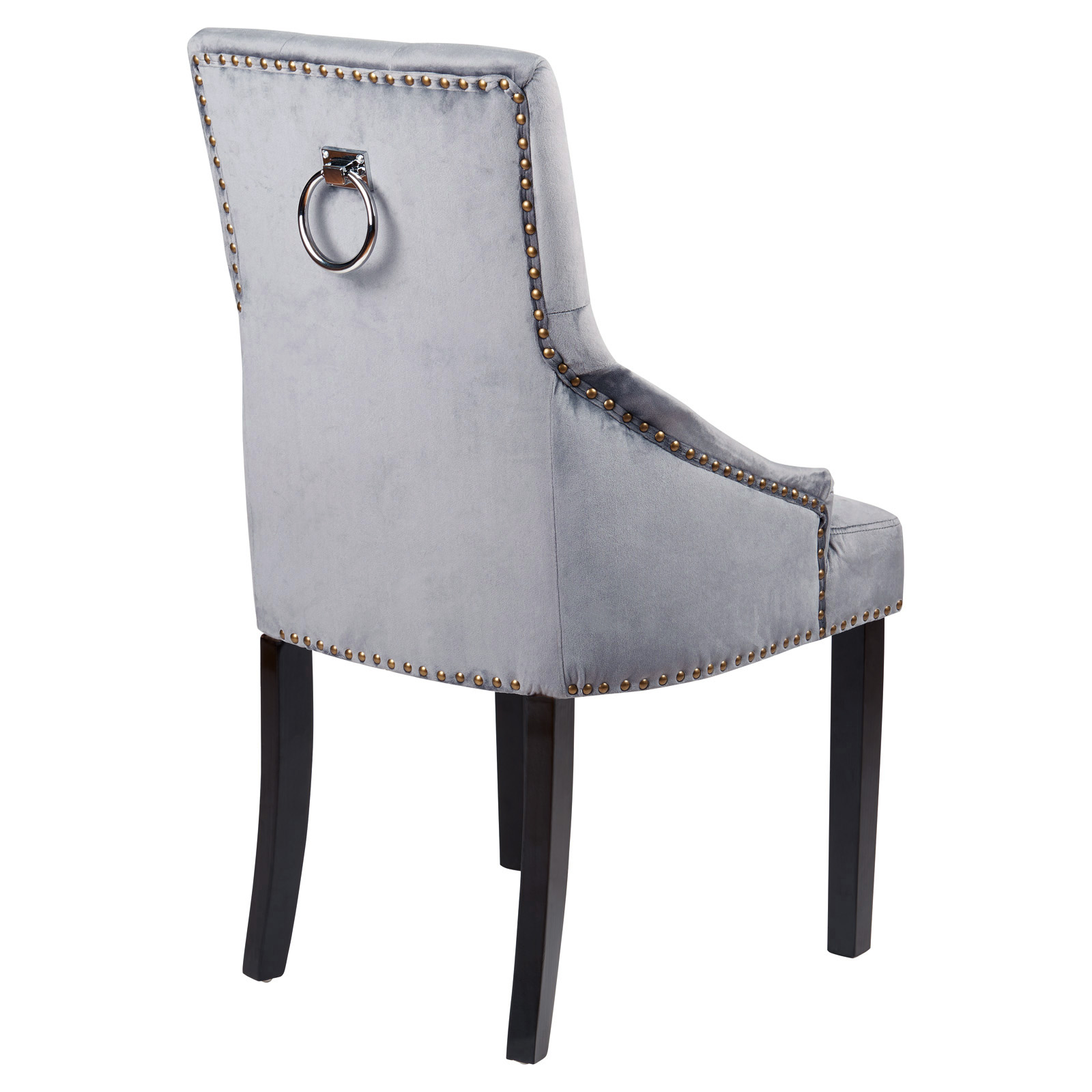 Hartleys Pair Of Grey Velvet Dining Chairs Studded Button