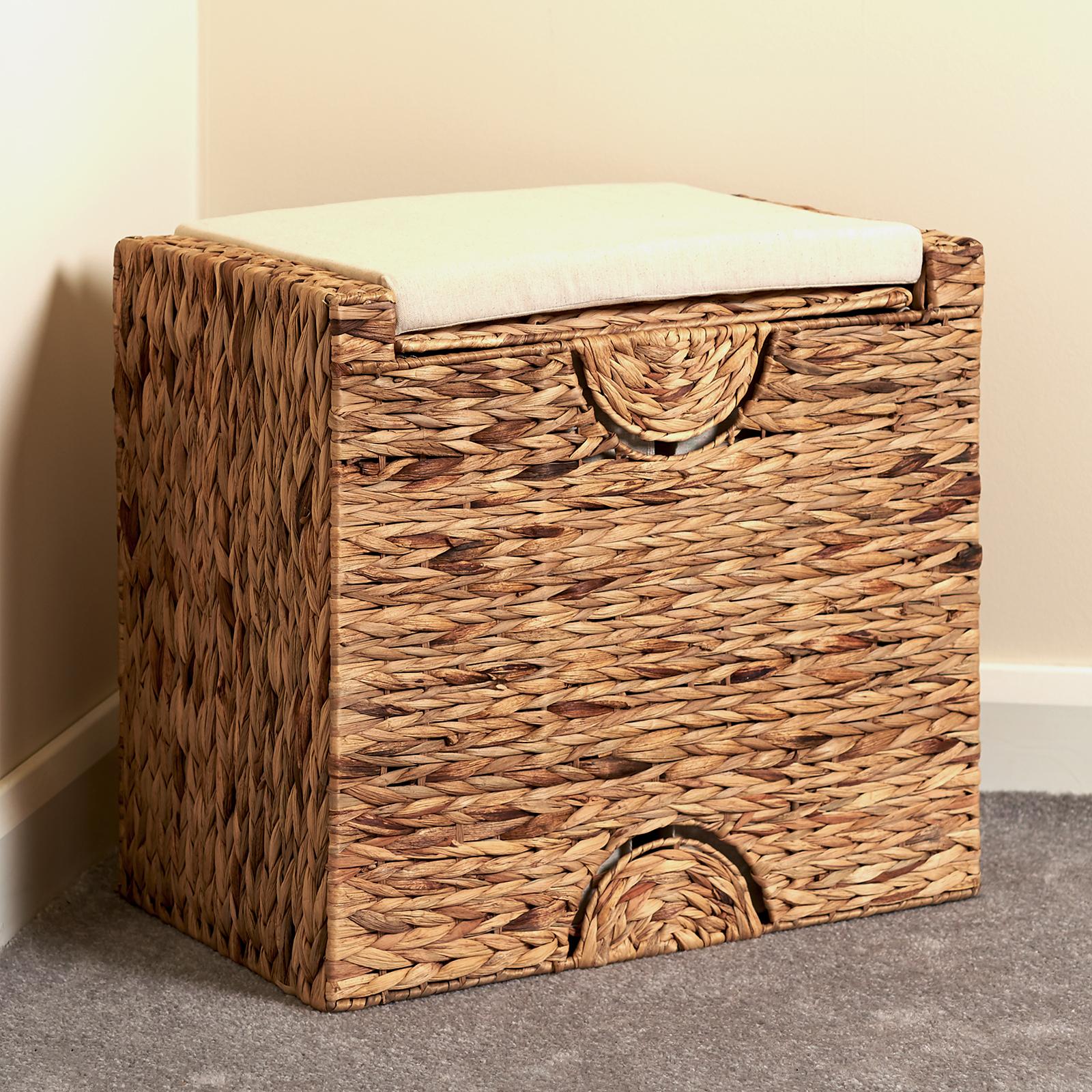 Sentinel Hartleys Laundry Basket Storage Bench Seat Bedroom Hallway Clothes Linen Hamper