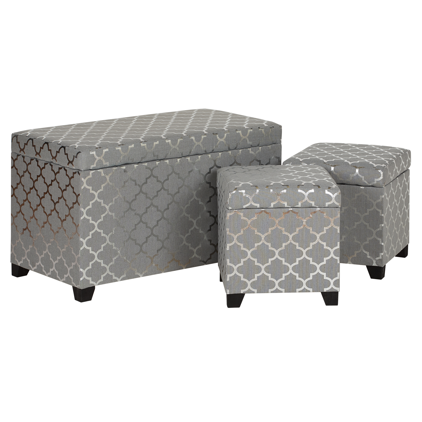 Hartleys Grey Amp Silver Storage Ottomans Set Of 3 Ottoman