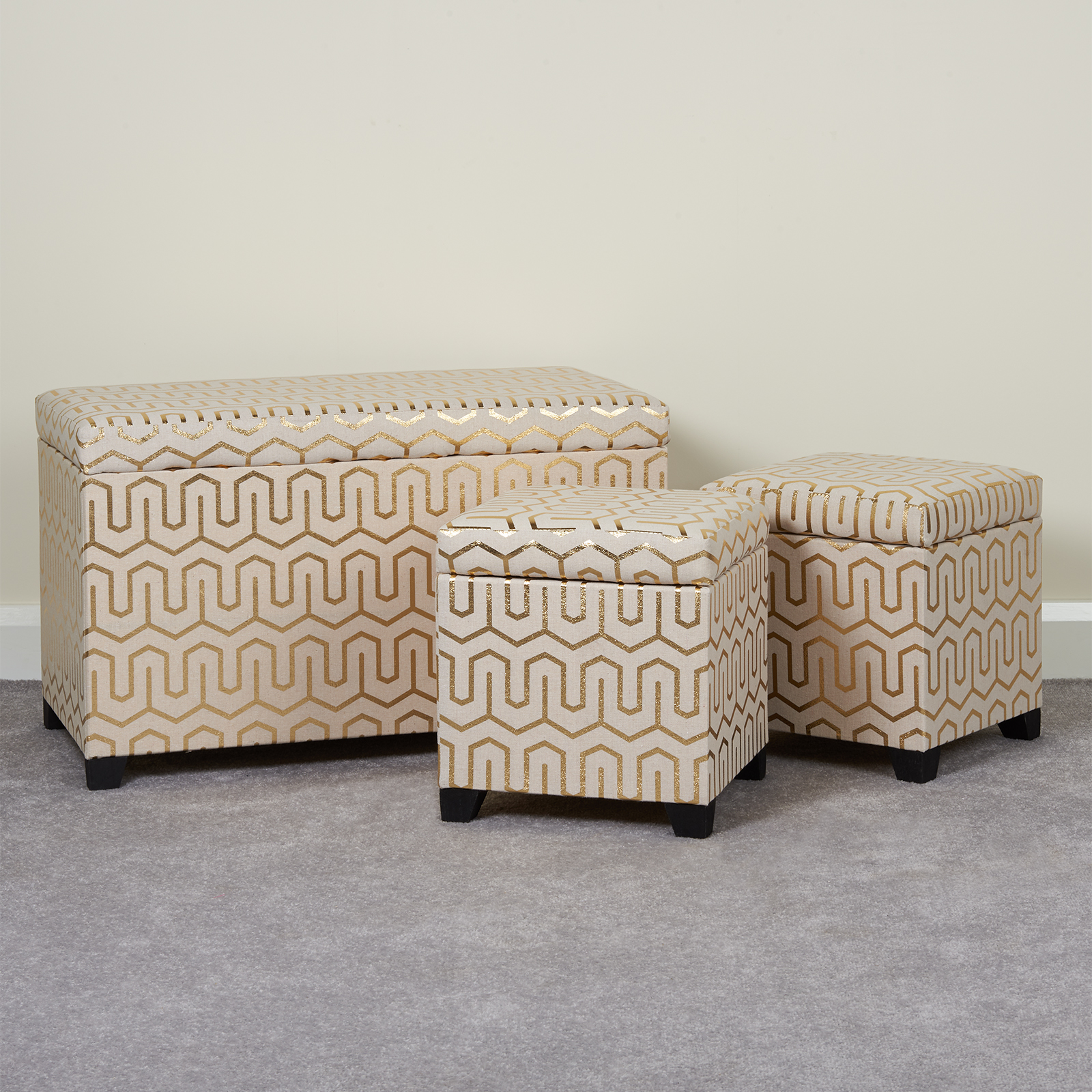 Ottomans Deacon Beige Upholstered Blanket Box: Hartleys Gold Patterned Storage Ottomans Set Of 3 Ottoman