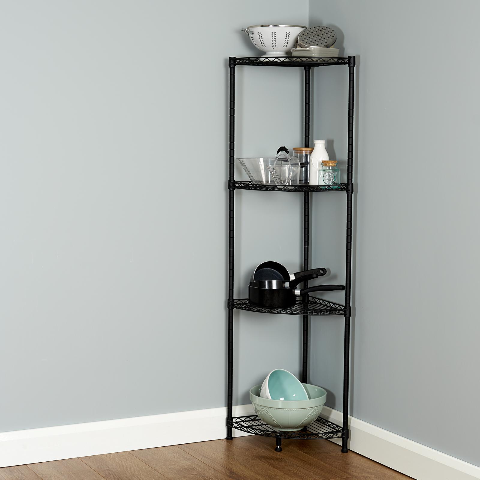Details About Hartleys Metal Wire Corner Shelving Unit Storage Kitchen Pantry Shelves Racks