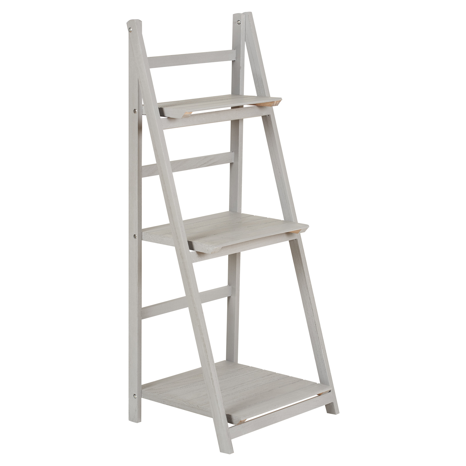 Hartleys Grey 3 Tier Folding Ladder Storage Home Display