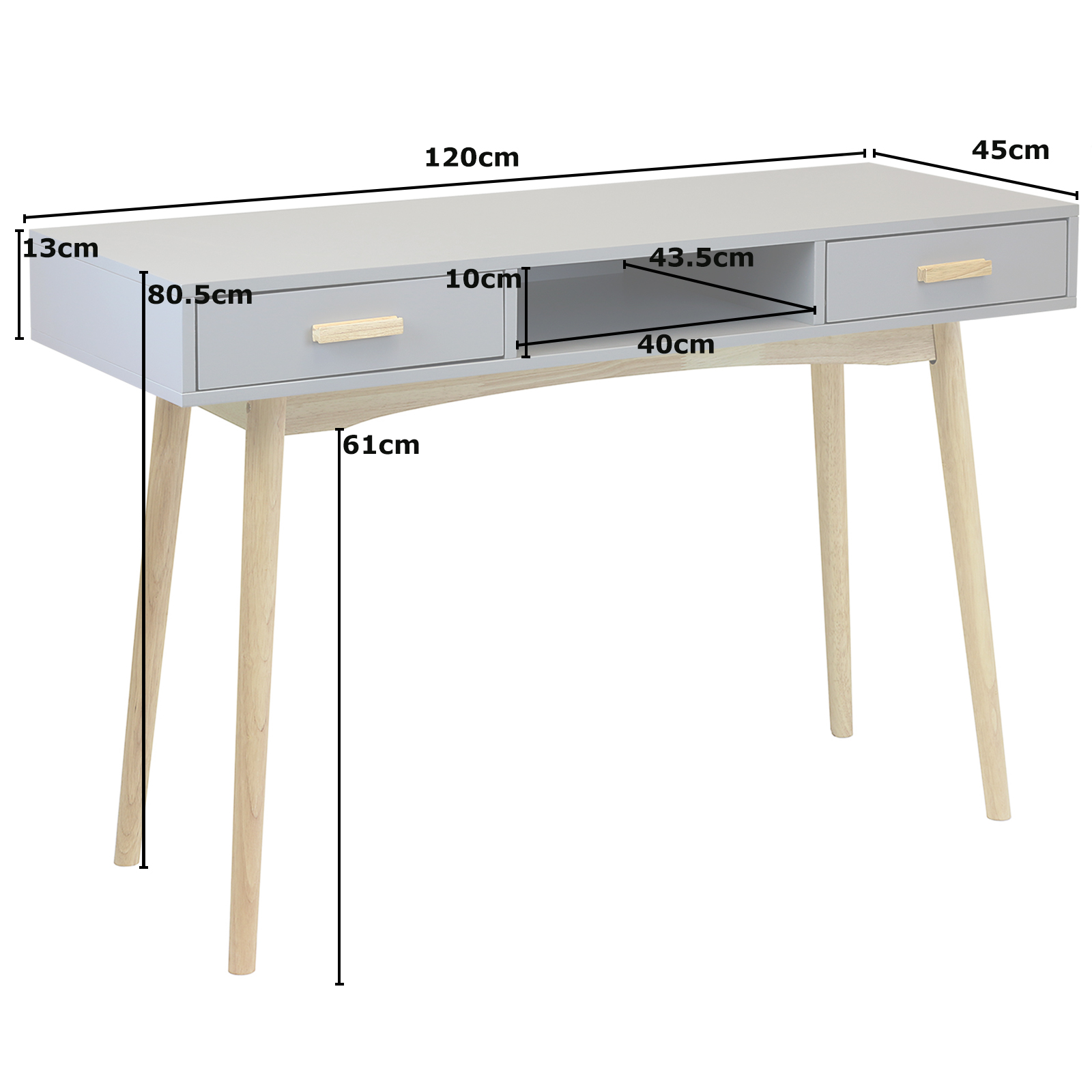 Sentinel Grey Scandinavian Retro Home Office Work Writing Desk Exdisplay 213