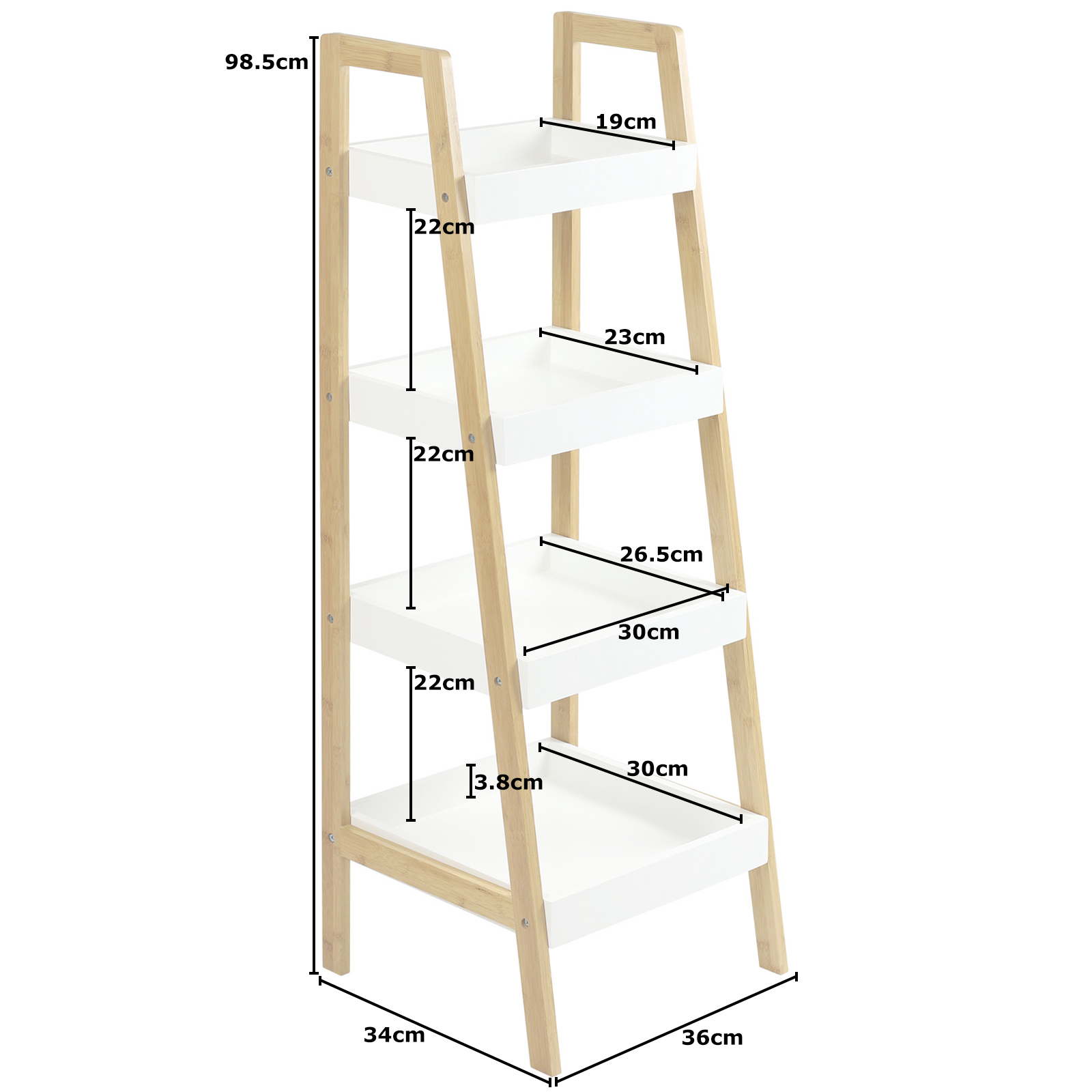 hartleys schräges treppen regal standregal bücherregal weiß/bambus
